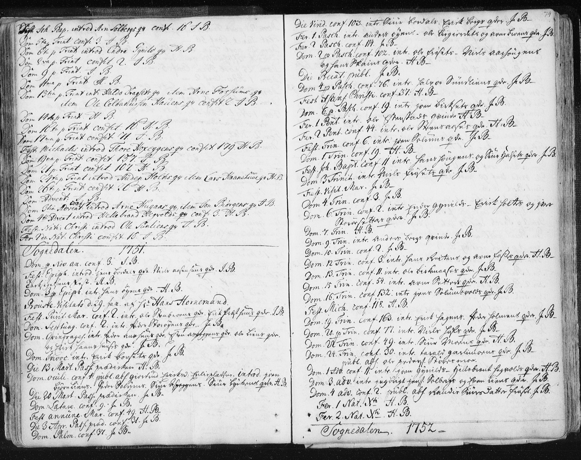 SAT, Ministerialprotokoller, klokkerbøker og fødselsregistre - Sør-Trøndelag, 687/L0991: Ministerialbok nr. 687A02, 1747-1790, s. 74
