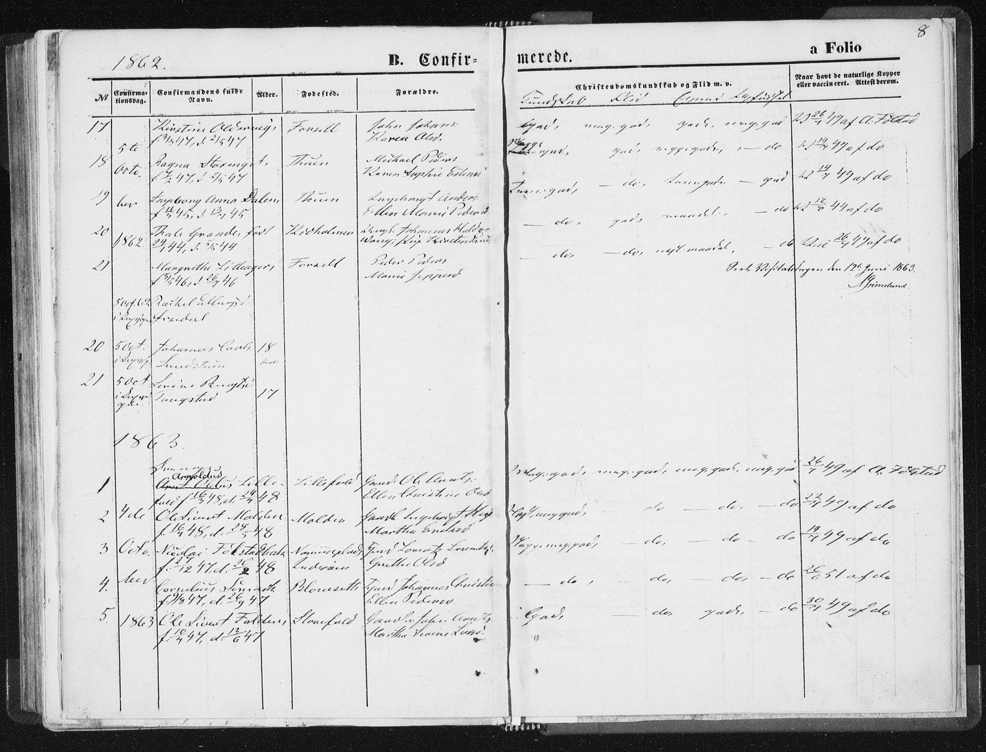 SAT, Ministerialprotokoller, klokkerbøker og fødselsregistre - Nord-Trøndelag, 744/L0418: Ministerialbok nr. 744A02, 1843-1866, s. 8