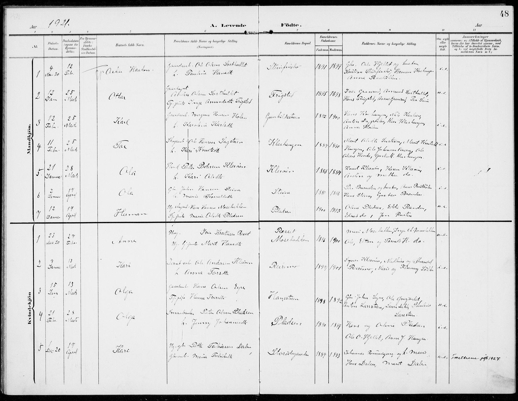 SAH, Sel prestekontor, Ministerialbok nr. 1, 1905-1922, s. 48