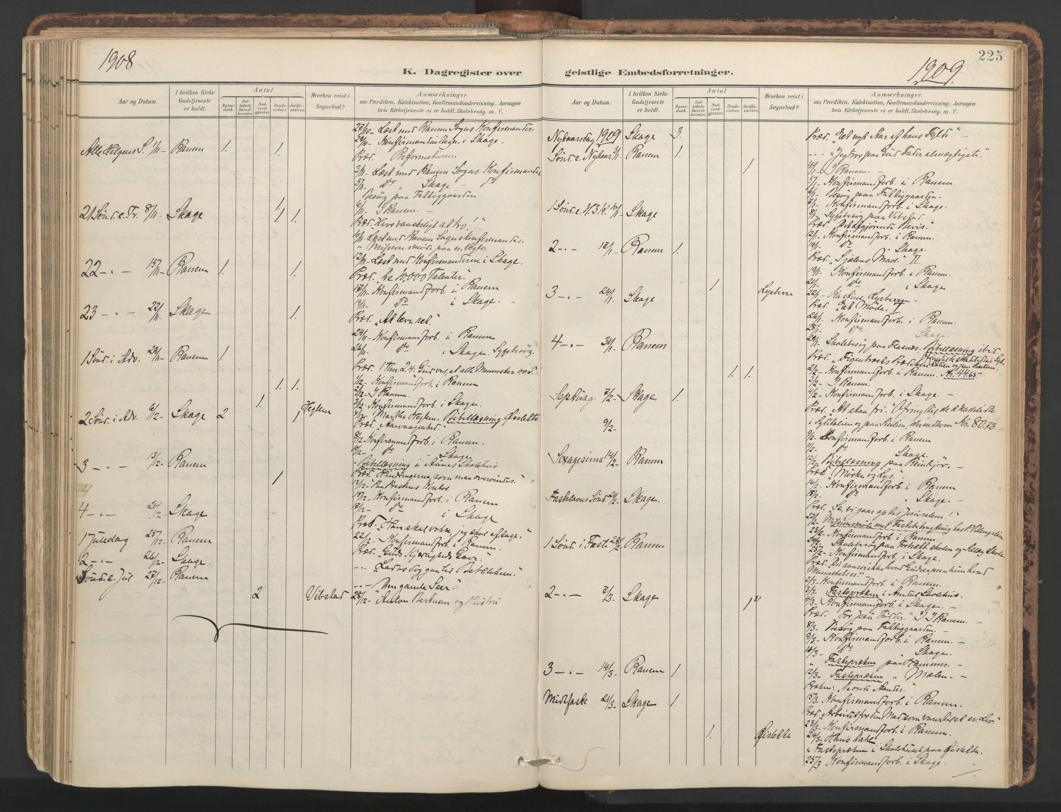 SAT, Ministerialprotokoller, klokkerbøker og fødselsregistre - Nord-Trøndelag, 764/L0556: Ministerialbok nr. 764A11, 1897-1924, s. 225