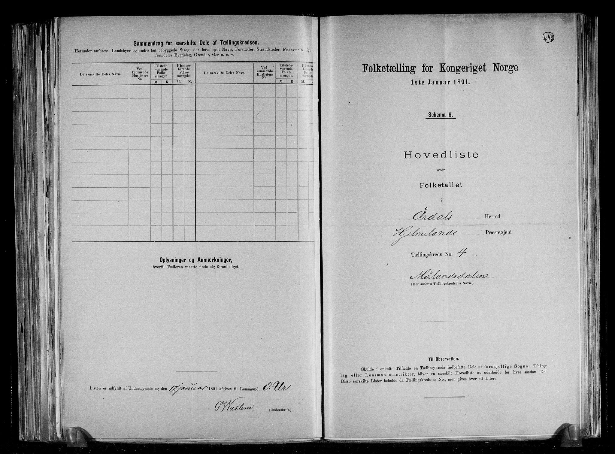 RA, Folketelling 1891 for 1131 Årdal herred, 1891, s. 10