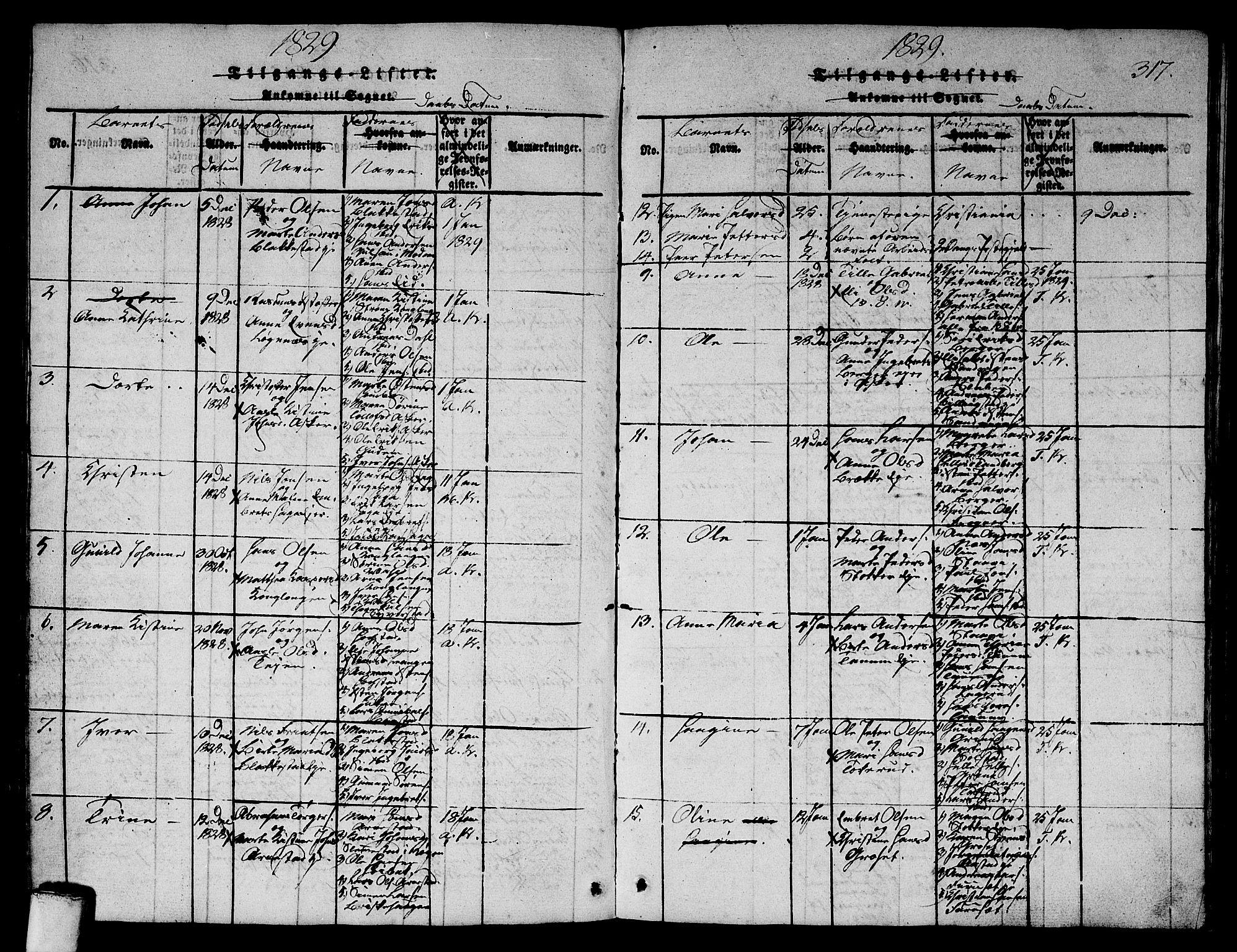 SAO, Asker prestekontor Kirkebøker, G/Ga/L0001: Klokkerbok nr. I 1, 1814-1830, s. 317