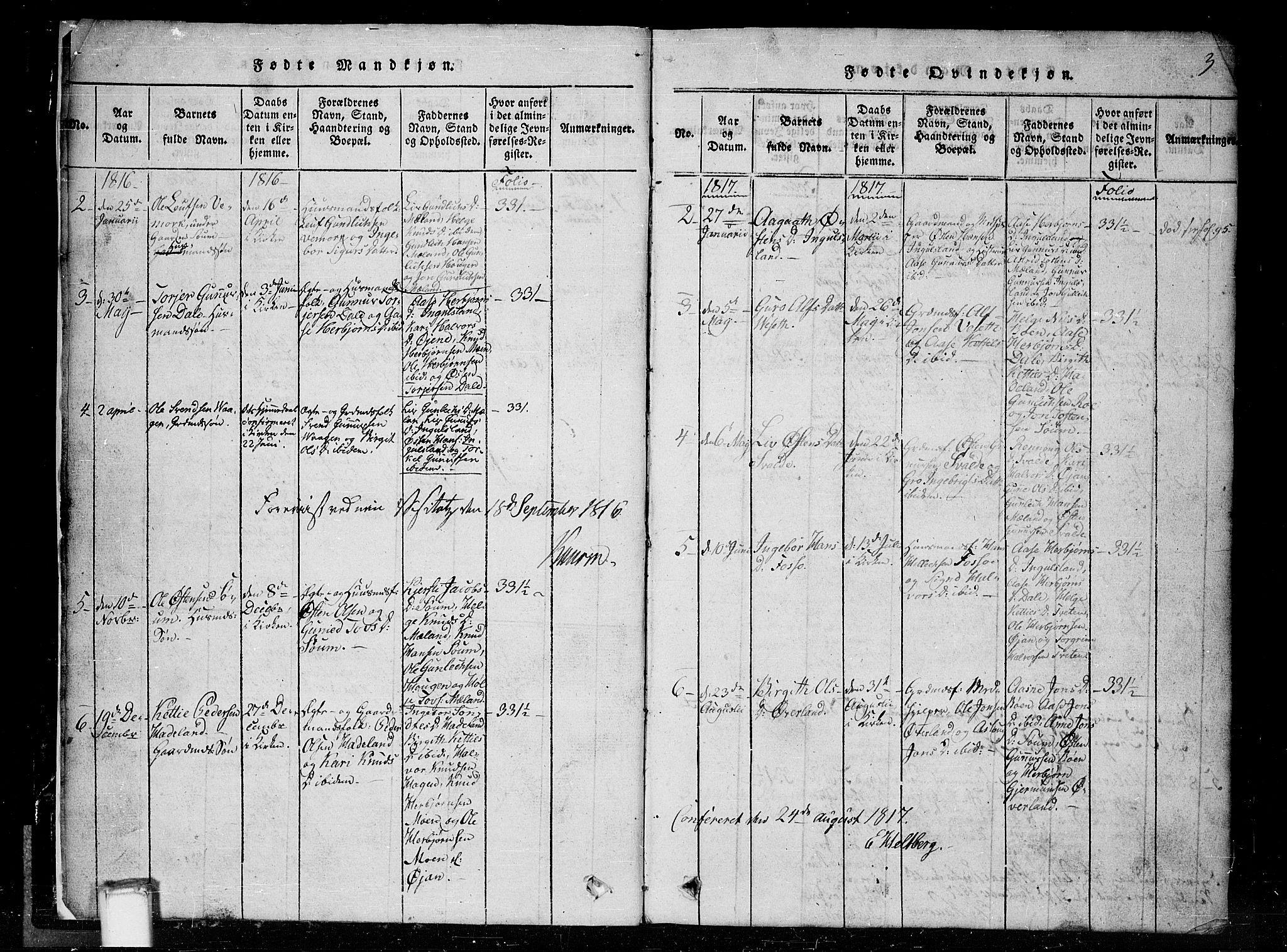SAKO, Tinn kirkebøker, G/Gc/L0001: Klokkerbok nr. III 1, 1815-1879, s. 3