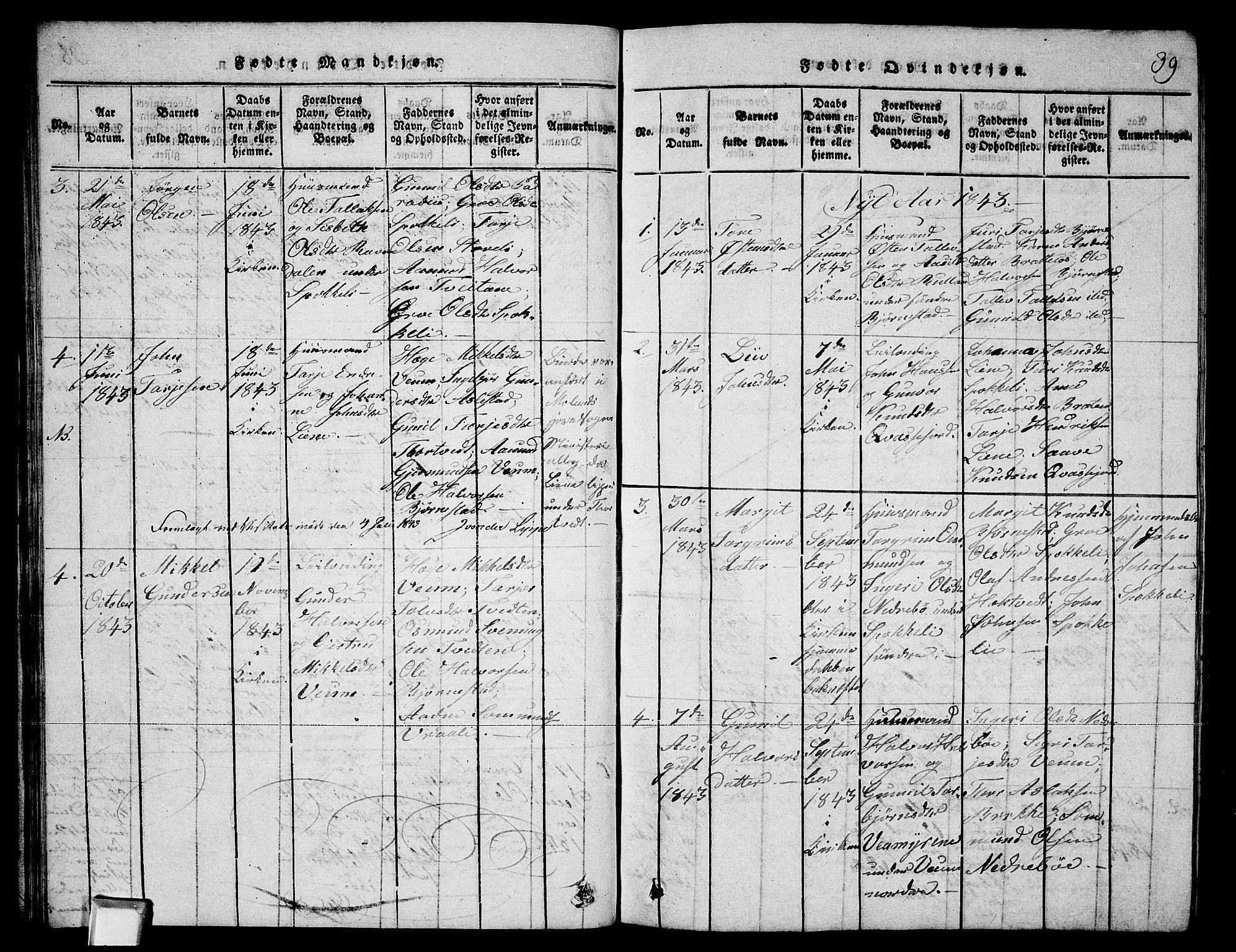 SAKO, Fyresdal kirkebøker, G/Ga/L0003: Klokkerbok nr. I 3, 1815-1863, s. 39