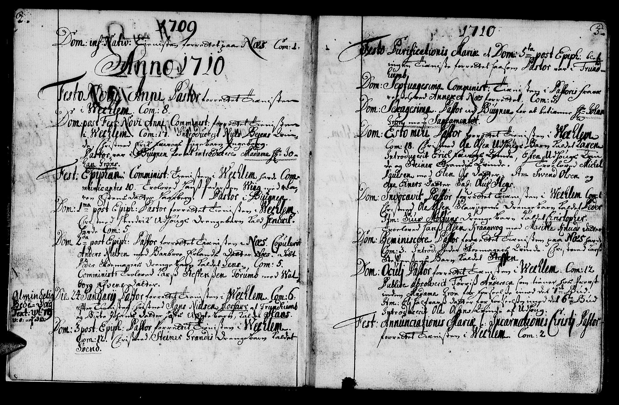 SAT, Ministerialprotokoller, klokkerbøker og fødselsregistre - Sør-Trøndelag, 659/L0731: Ministerialbok nr. 659A01, 1709-1731, s. 2-3