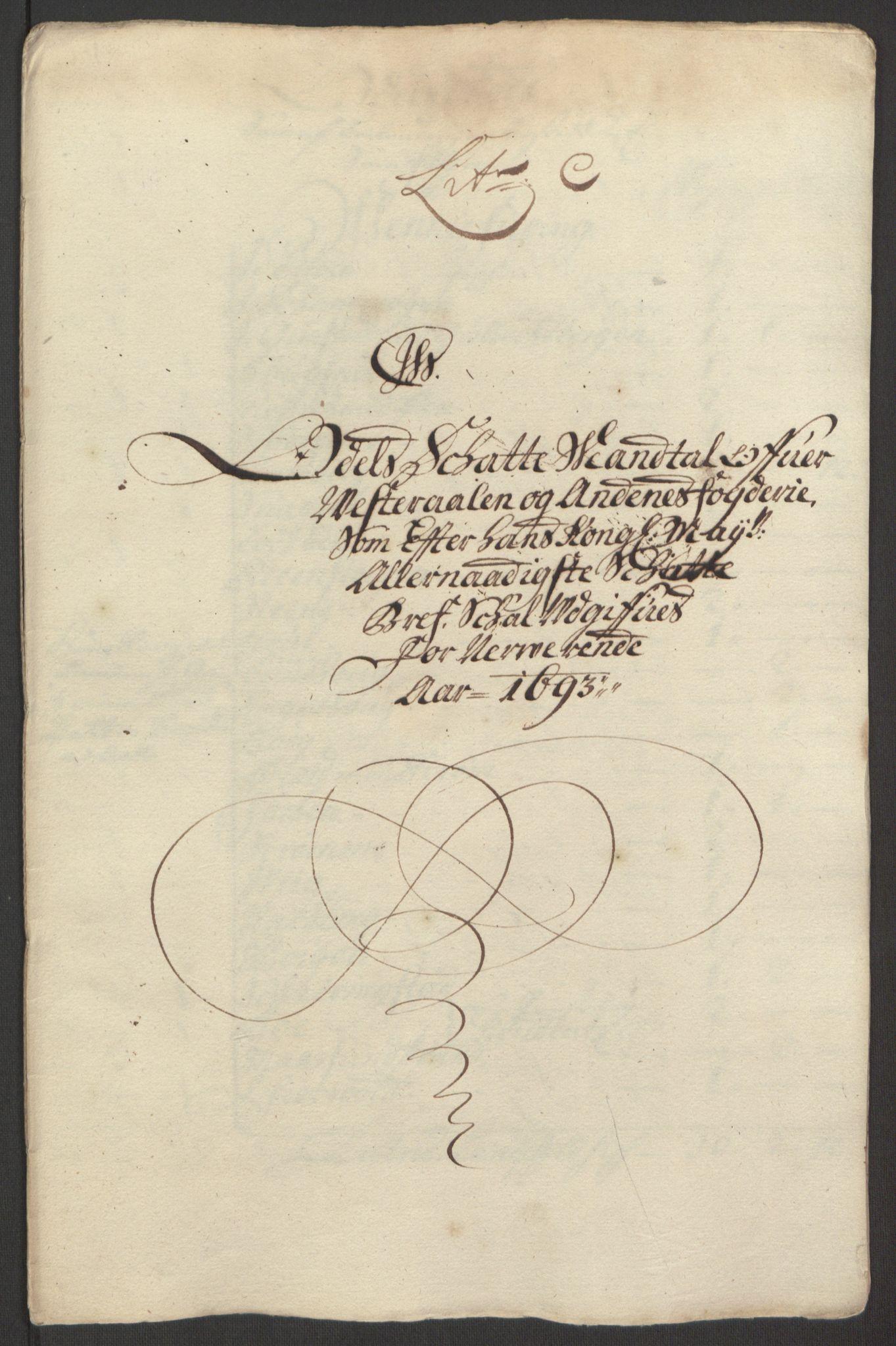 RA, Rentekammeret inntil 1814, Reviderte regnskaper, Fogderegnskap, R67/L4676: Fogderegnskap Vesterålen, Andenes og Lofoten, 1691-1693, s. 267