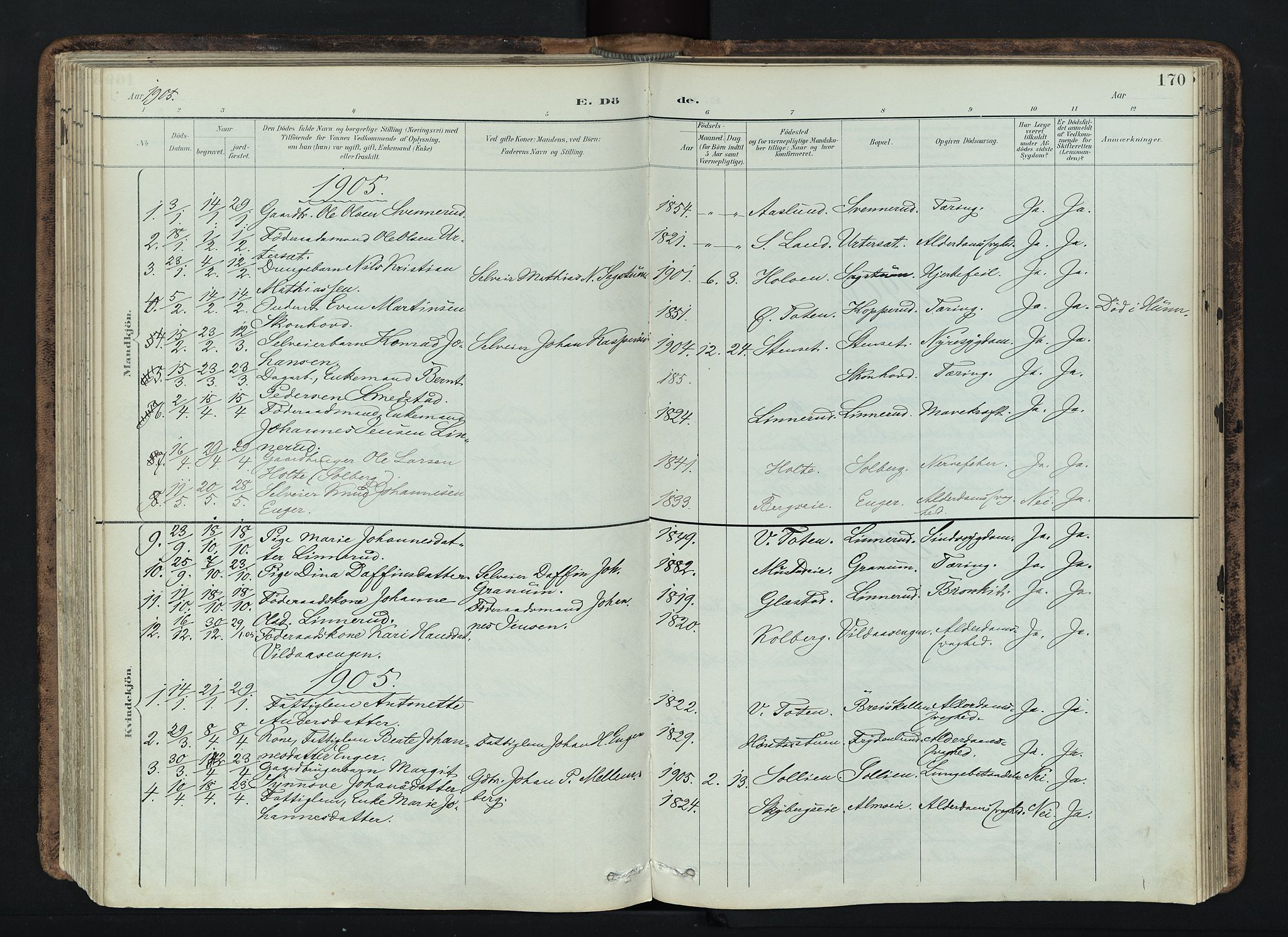 SAH, Vardal prestekontor, H/Ha/Haa/L0019: Ministerialbok nr. 19, 1893-1907, s. 170