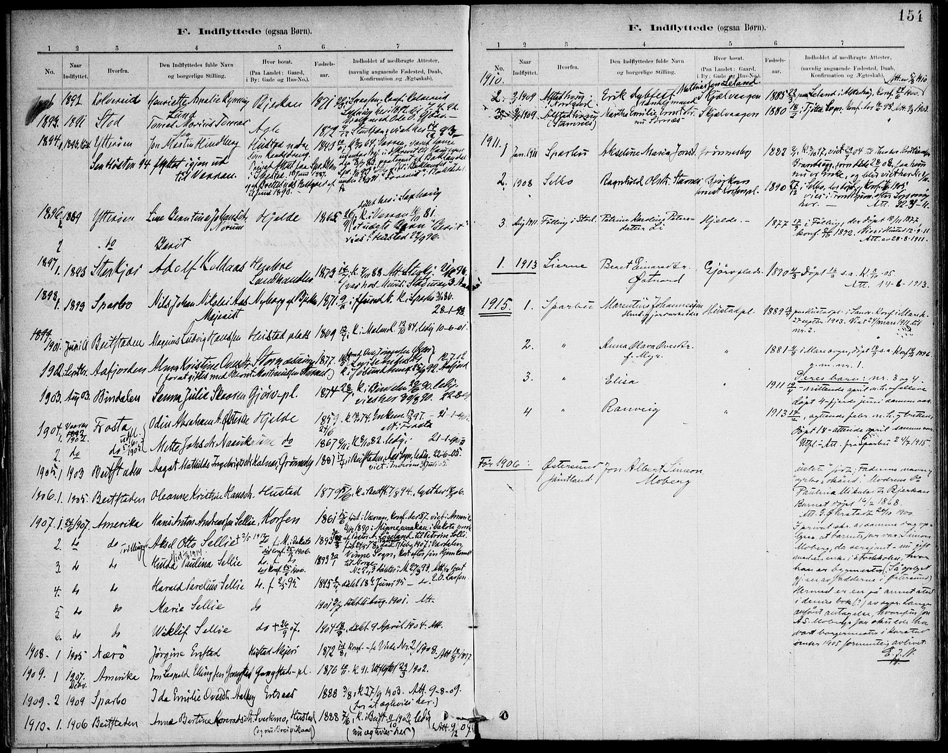 SAT, Ministerialprotokoller, klokkerbøker og fødselsregistre - Nord-Trøndelag, 732/L0316: Ministerialbok nr. 732A01, 1879-1921, s. 154