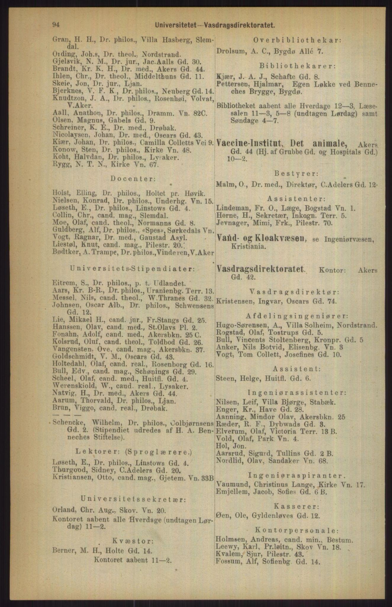 RA, Kristiania adressebok (publikasjon)*, 1911, s. 94