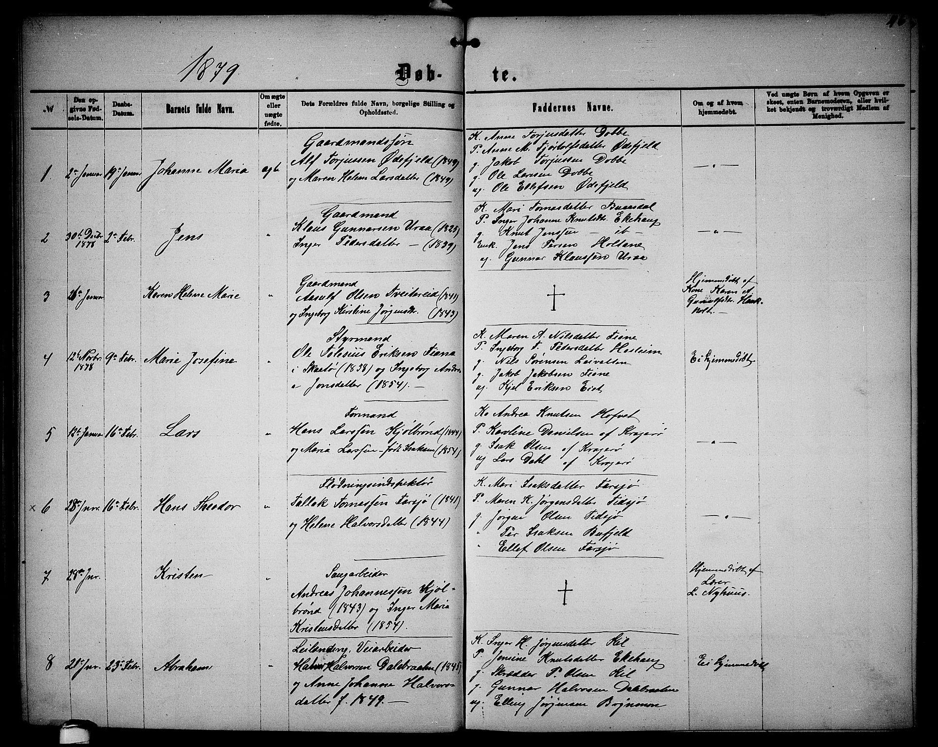 SAKO, Sannidal kirkebøker, G/Ga/L0002: Klokkerbok nr. 2, 1875-1886, s. 46