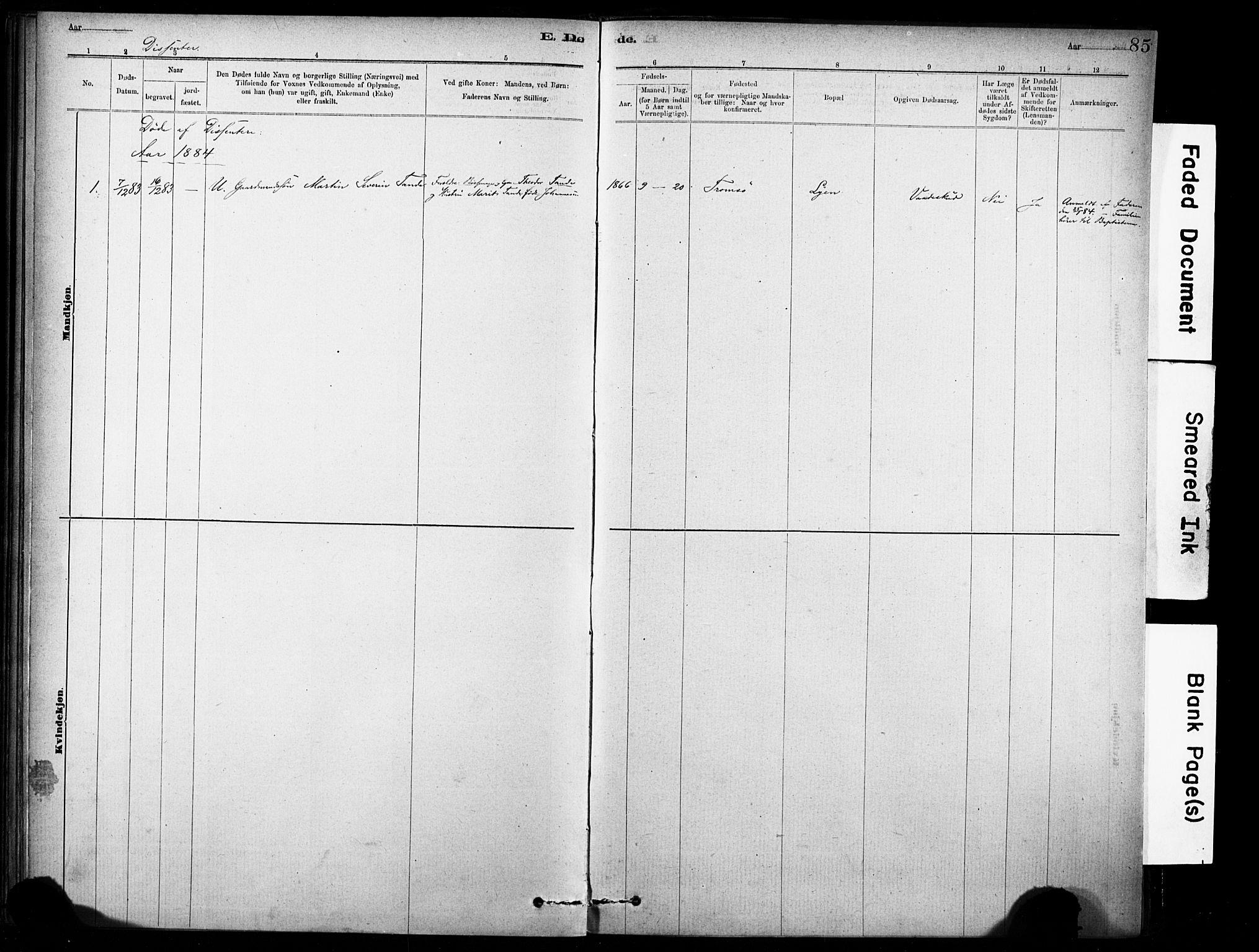 SAT, Ministerialprotokoller, klokkerbøker og fødselsregistre - Sør-Trøndelag, 635/L0551: Ministerialbok nr. 635A01, 1882-1899, s. 85