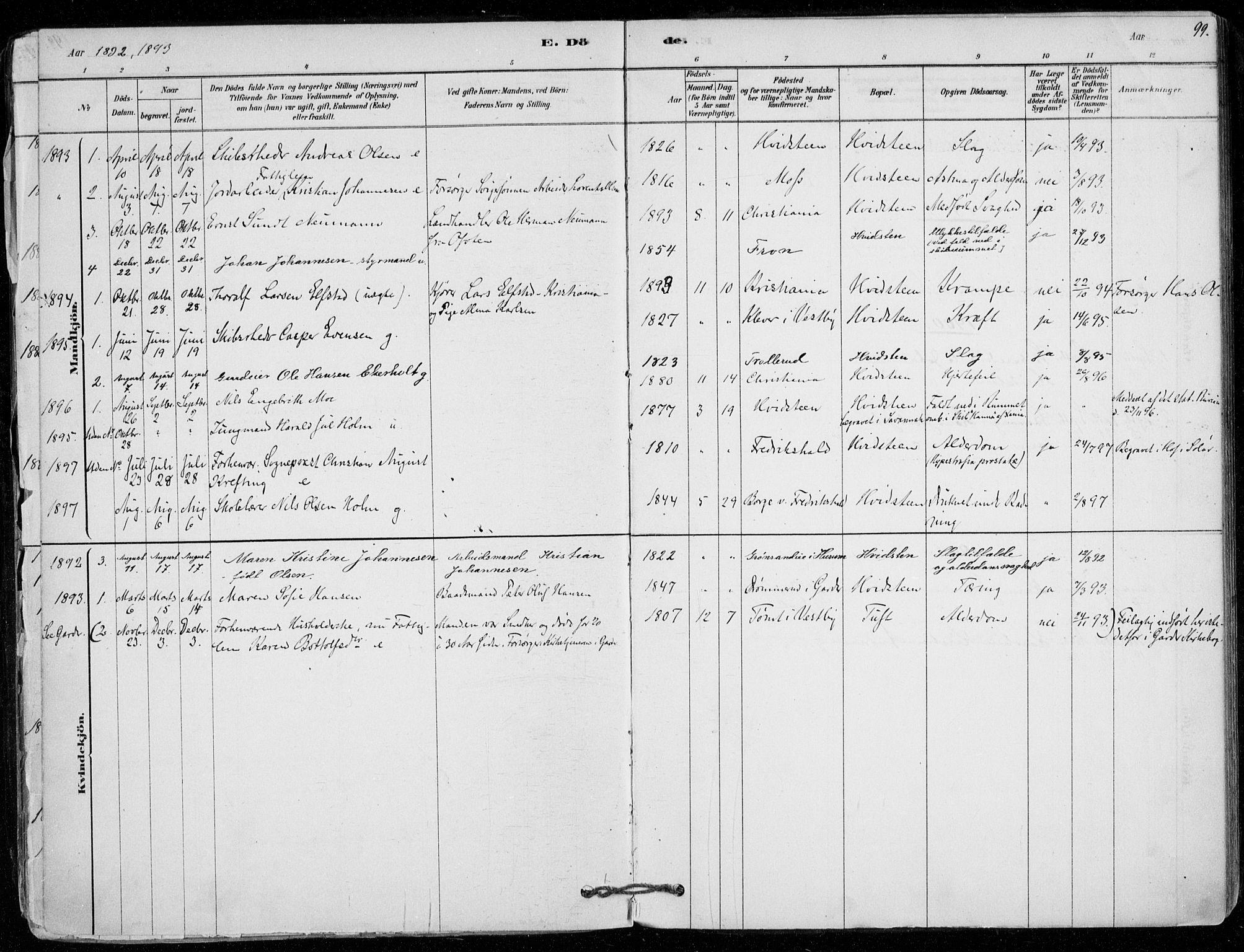 SAO, Vestby prestekontor Kirkebøker, F/Fd/L0001: Ministerialbok nr. IV 1, 1878-1945, s. 99