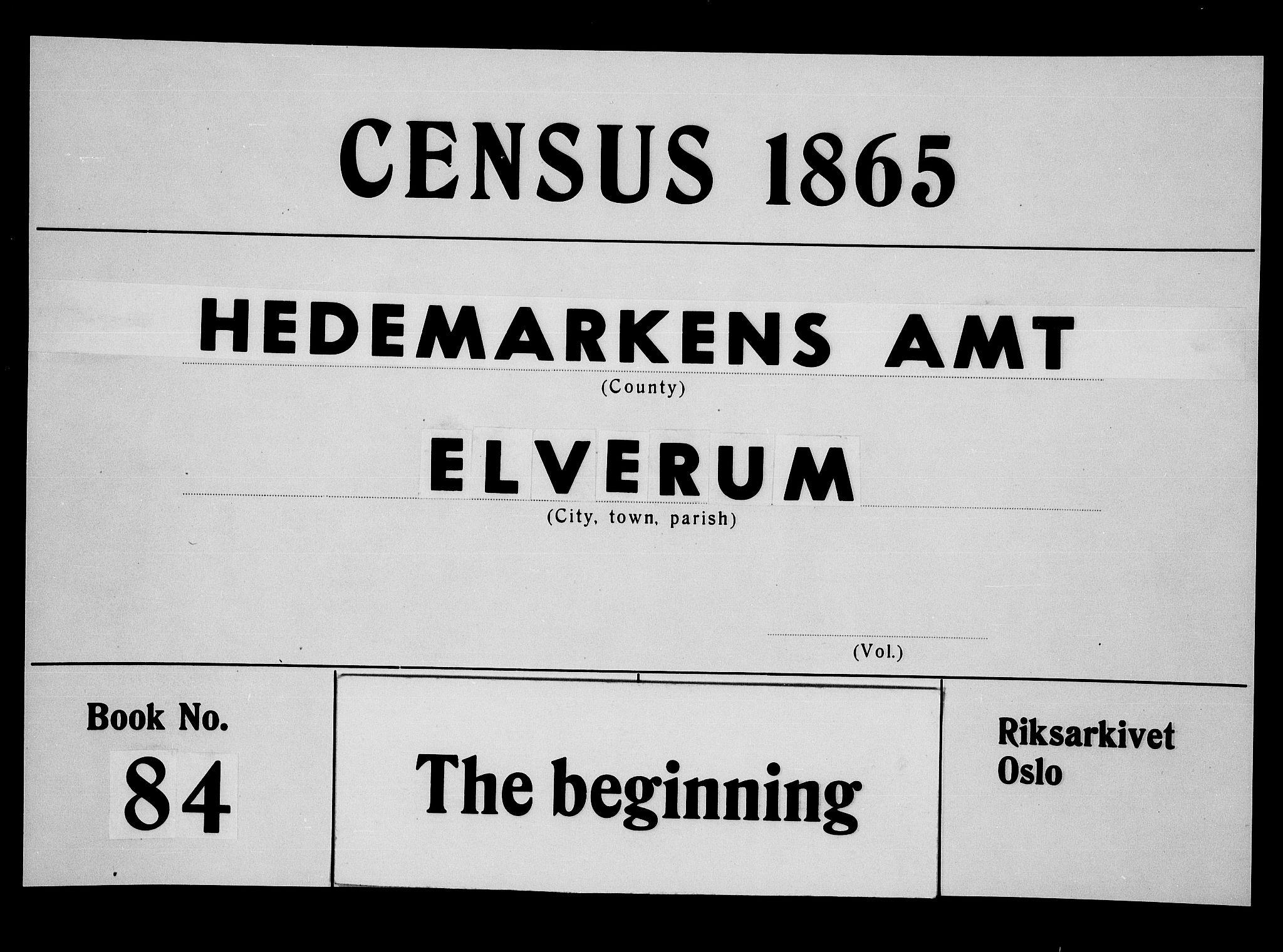 RA, Folketelling 1865 for 0427P Elverum prestegjeld, 1865, s. 1