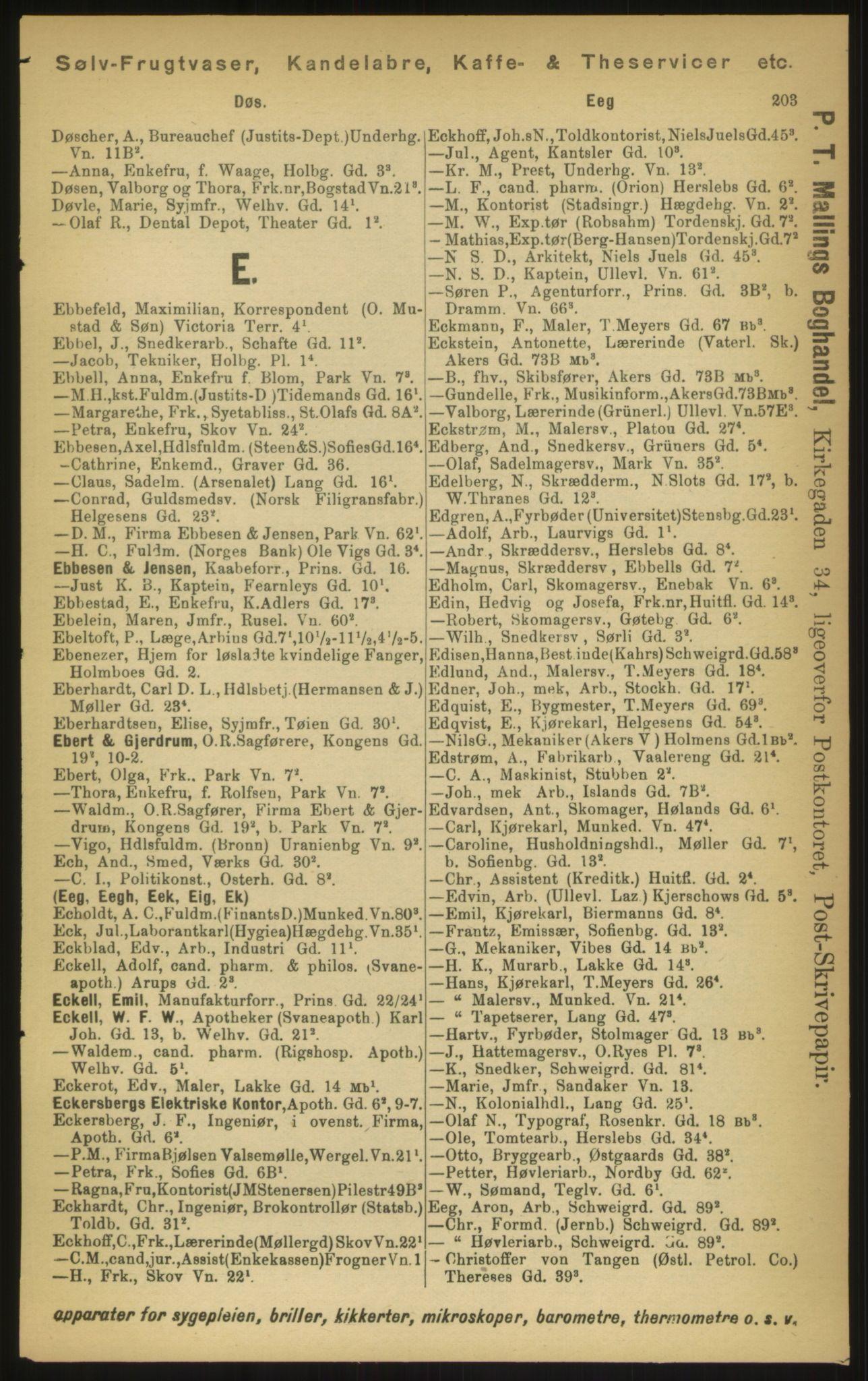 PUBL, Kristiania/Oslo adressebok, 1897, s. 203
