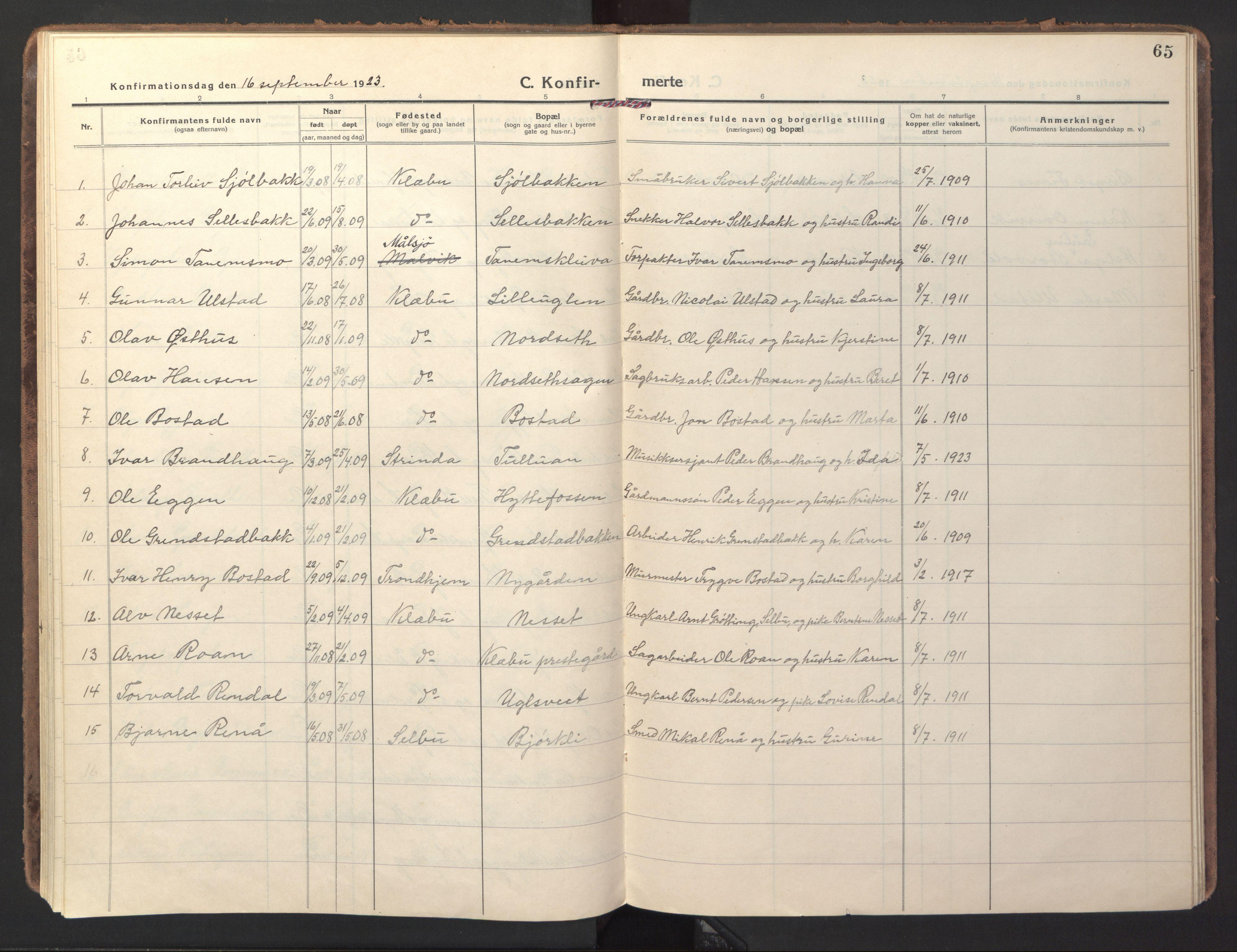 SAT, Ministerialprotokoller, klokkerbøker og fødselsregistre - Sør-Trøndelag, 618/L0449: Ministerialbok nr. 618A12, 1917-1924, s. 65