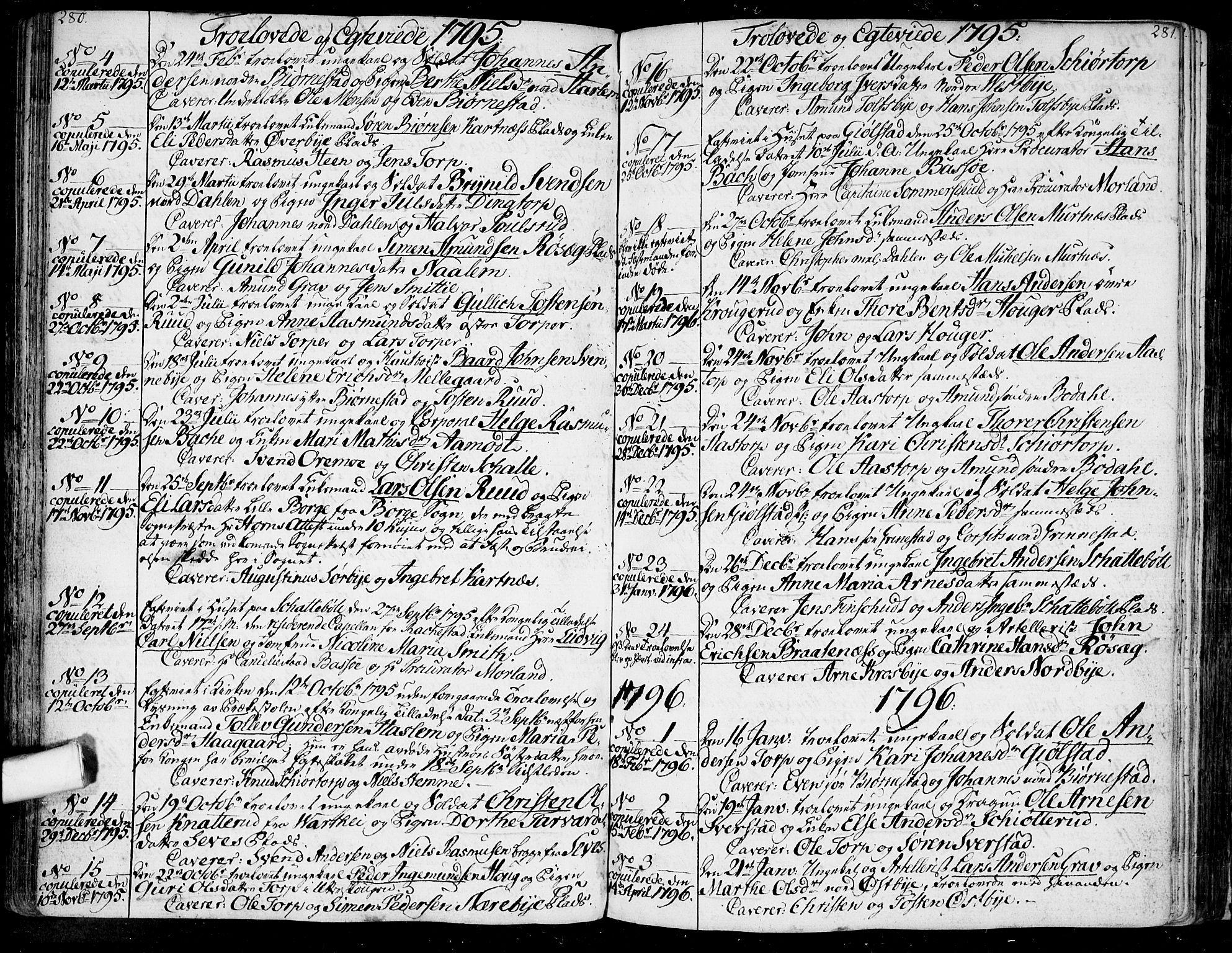 SAO, Rakkestad prestekontor Kirkebøker, F/Fa/L0005: Ministerialbok nr. I 5, 1784-1814, s. 280-281