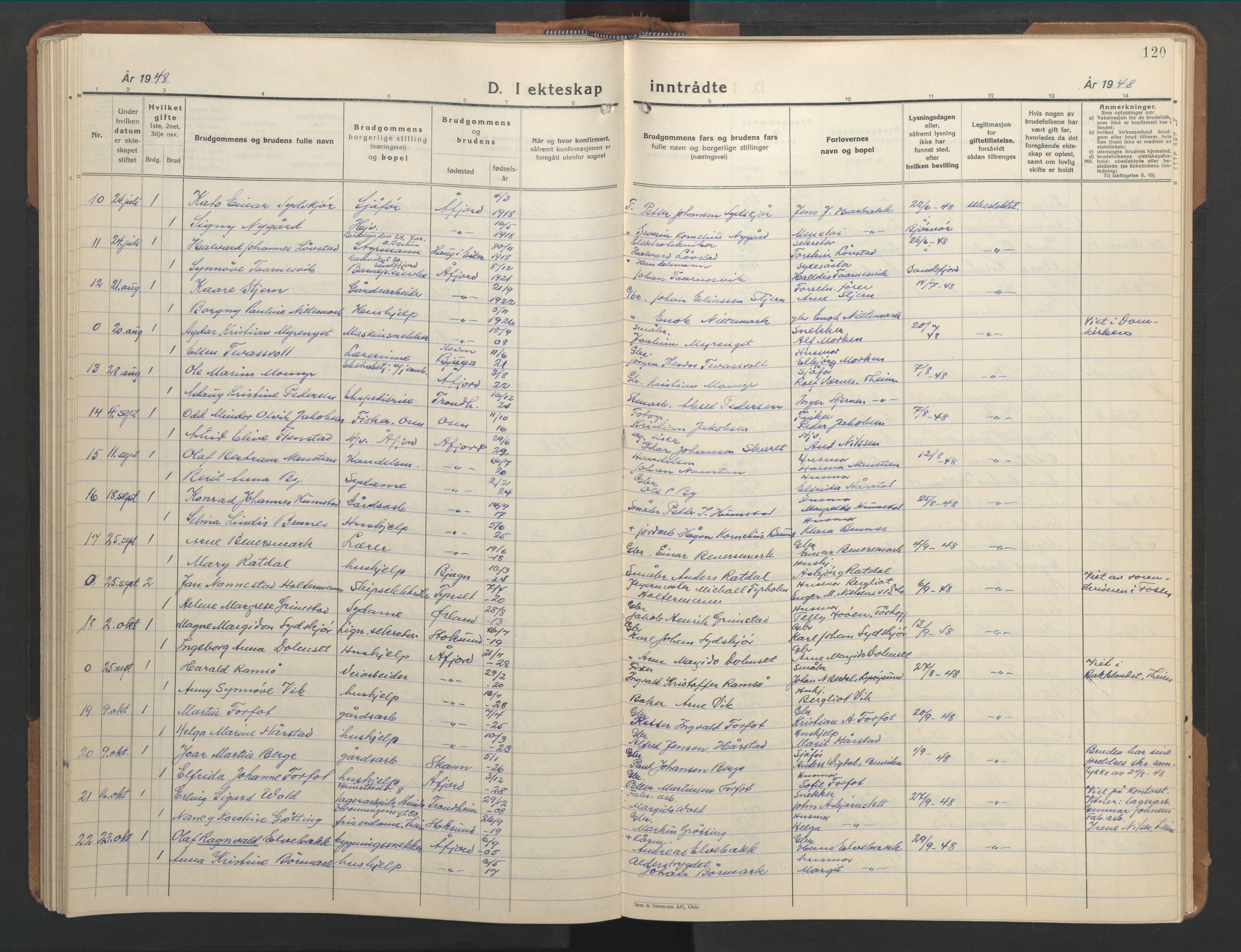 SAT, Ministerialprotokoller, klokkerbøker og fødselsregistre - Sør-Trøndelag, 655/L0690: Klokkerbok nr. 655C06, 1937-1950, s. 120