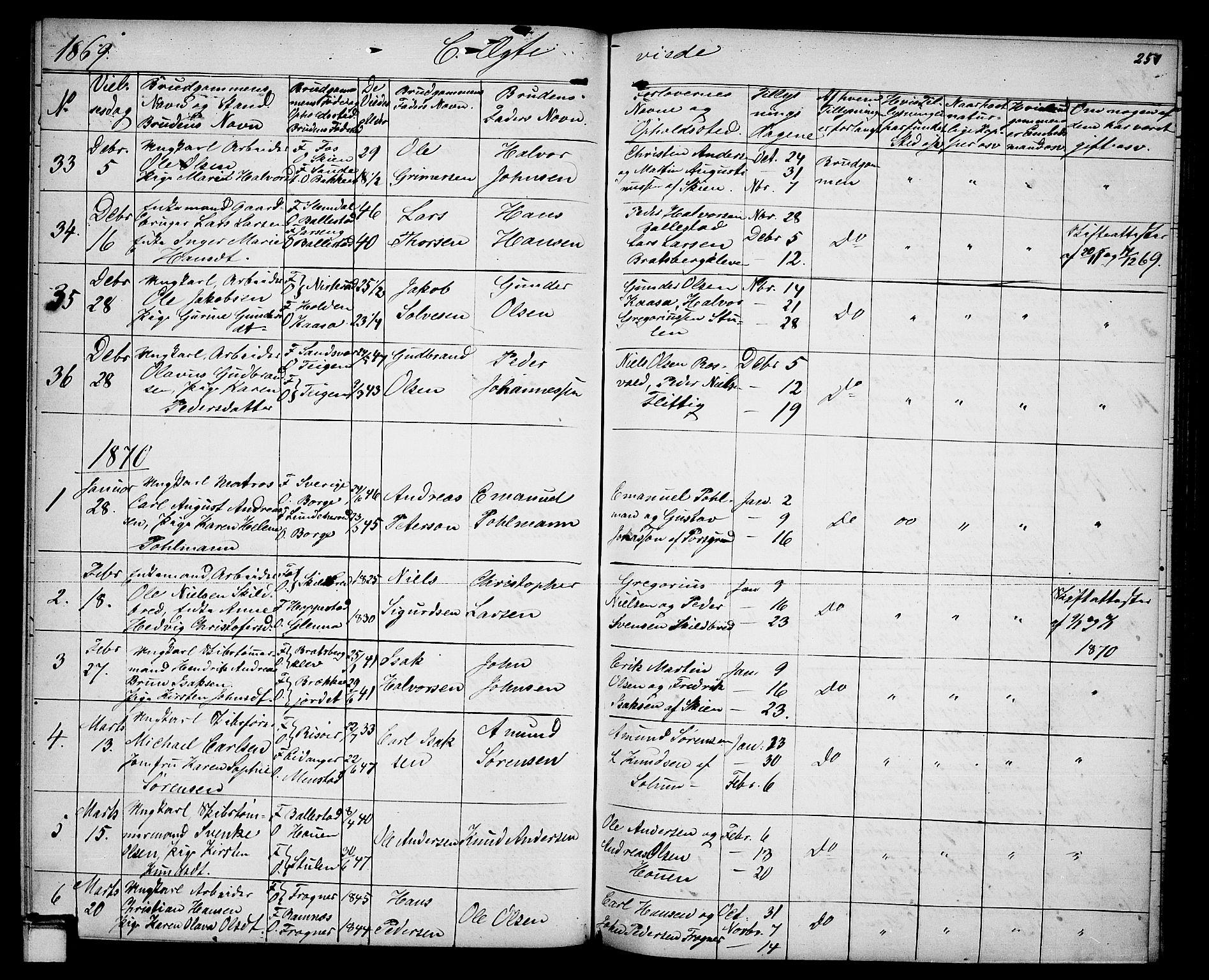 SAKO, Gjerpen kirkebøker, G/Ga/L0001: Klokkerbok nr. I 1, 1864-1882, s. 251