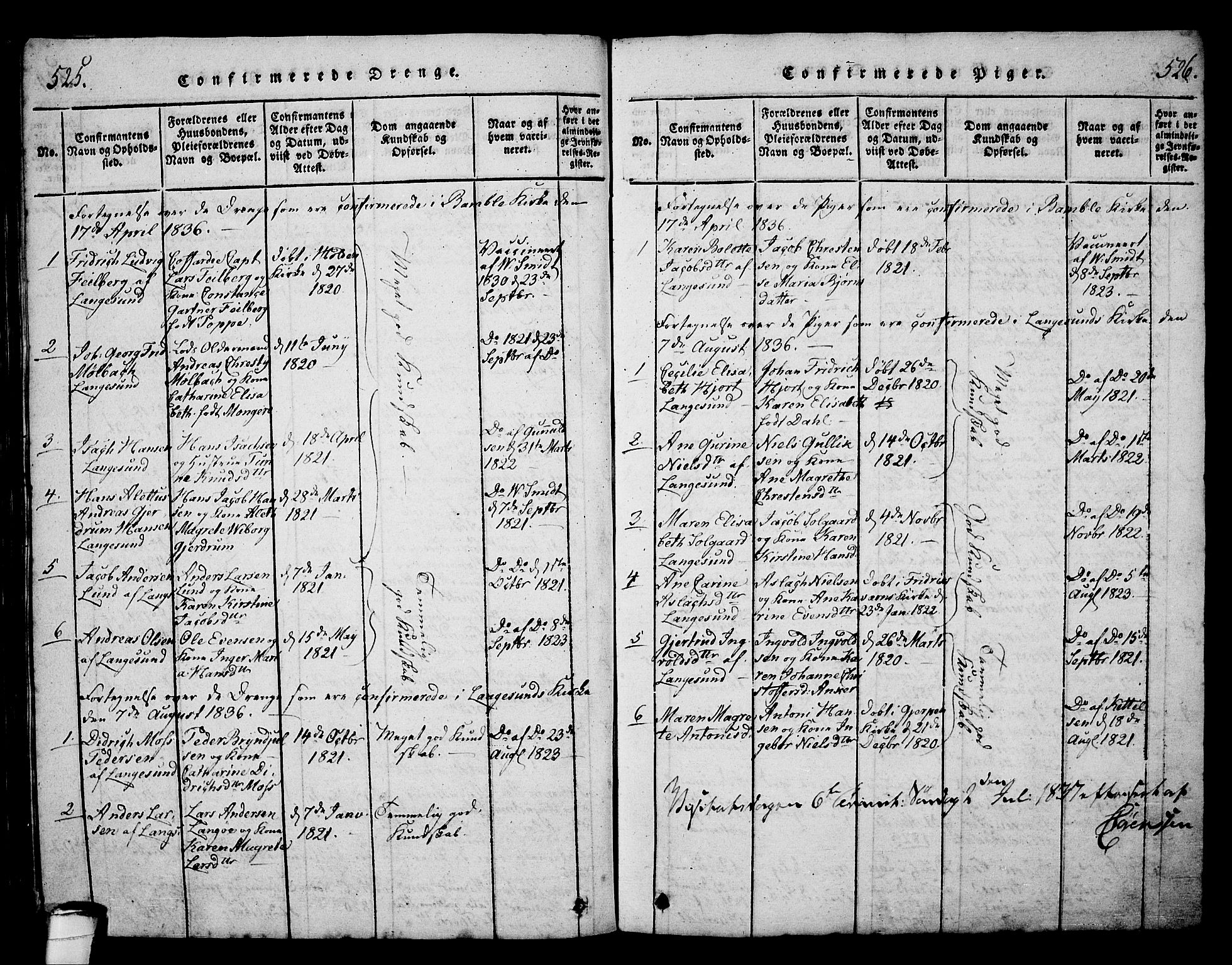 SAKO, Langesund kirkebøker, G/Ga/L0003: Klokkerbok nr. 3, 1815-1858, s. 525-526