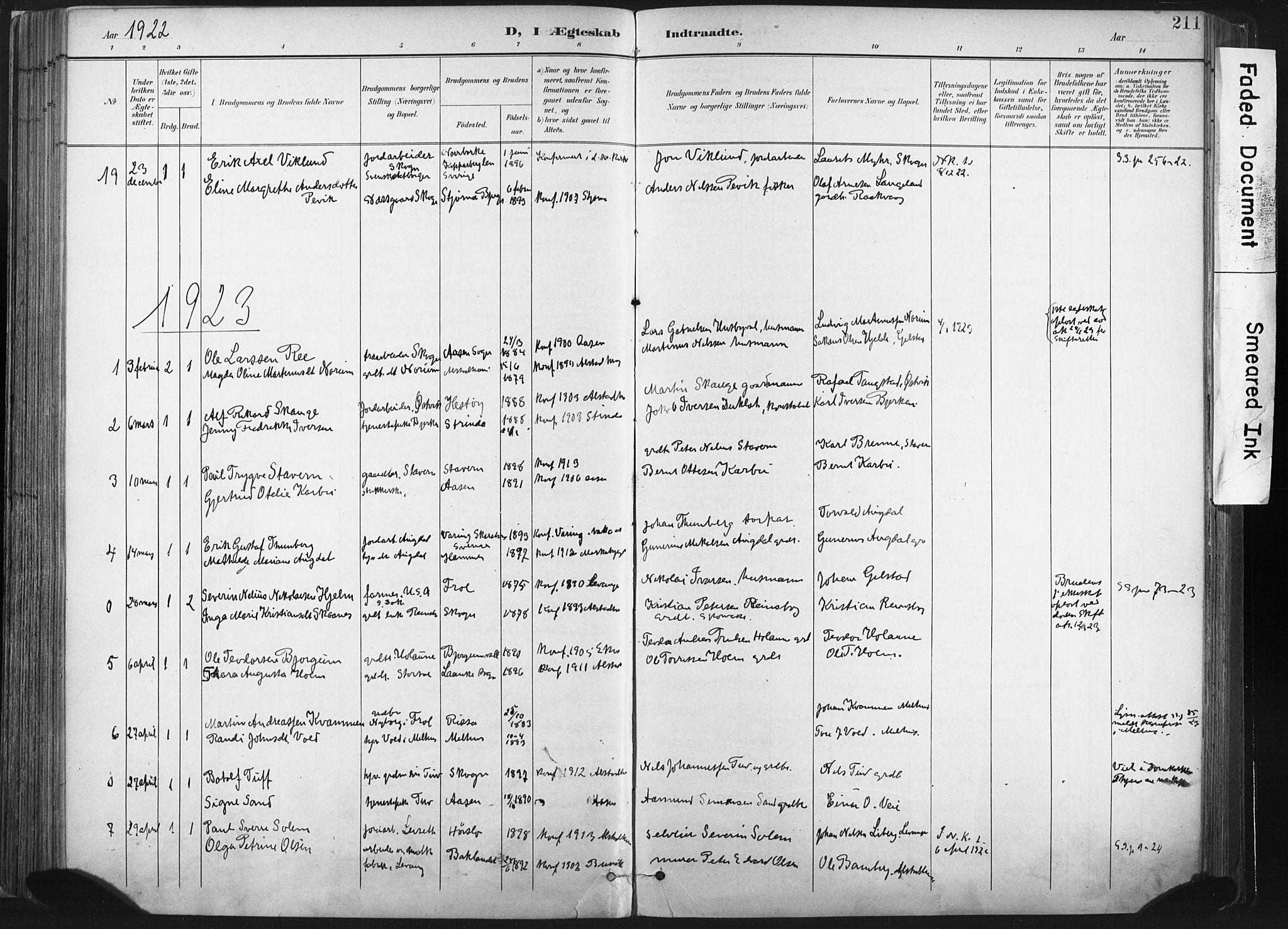 SAT, Ministerialprotokoller, klokkerbøker og fødselsregistre - Nord-Trøndelag, 717/L0162: Ministerialbok nr. 717A12, 1898-1923, s. 211