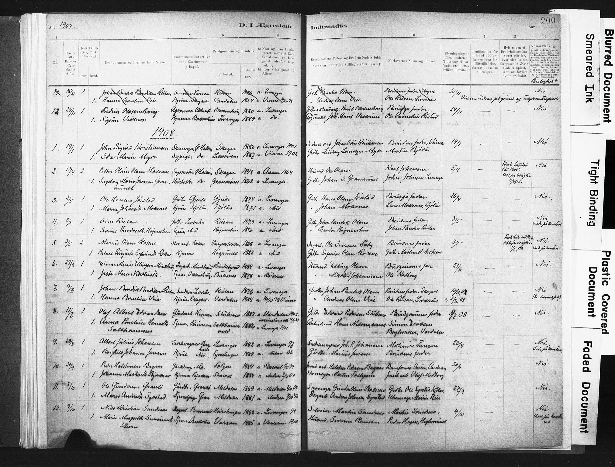 SAT, Ministerialprotokoller, klokkerbøker og fødselsregistre - Nord-Trøndelag, 721/L0207: Ministerialbok nr. 721A02, 1880-1911, s. 200