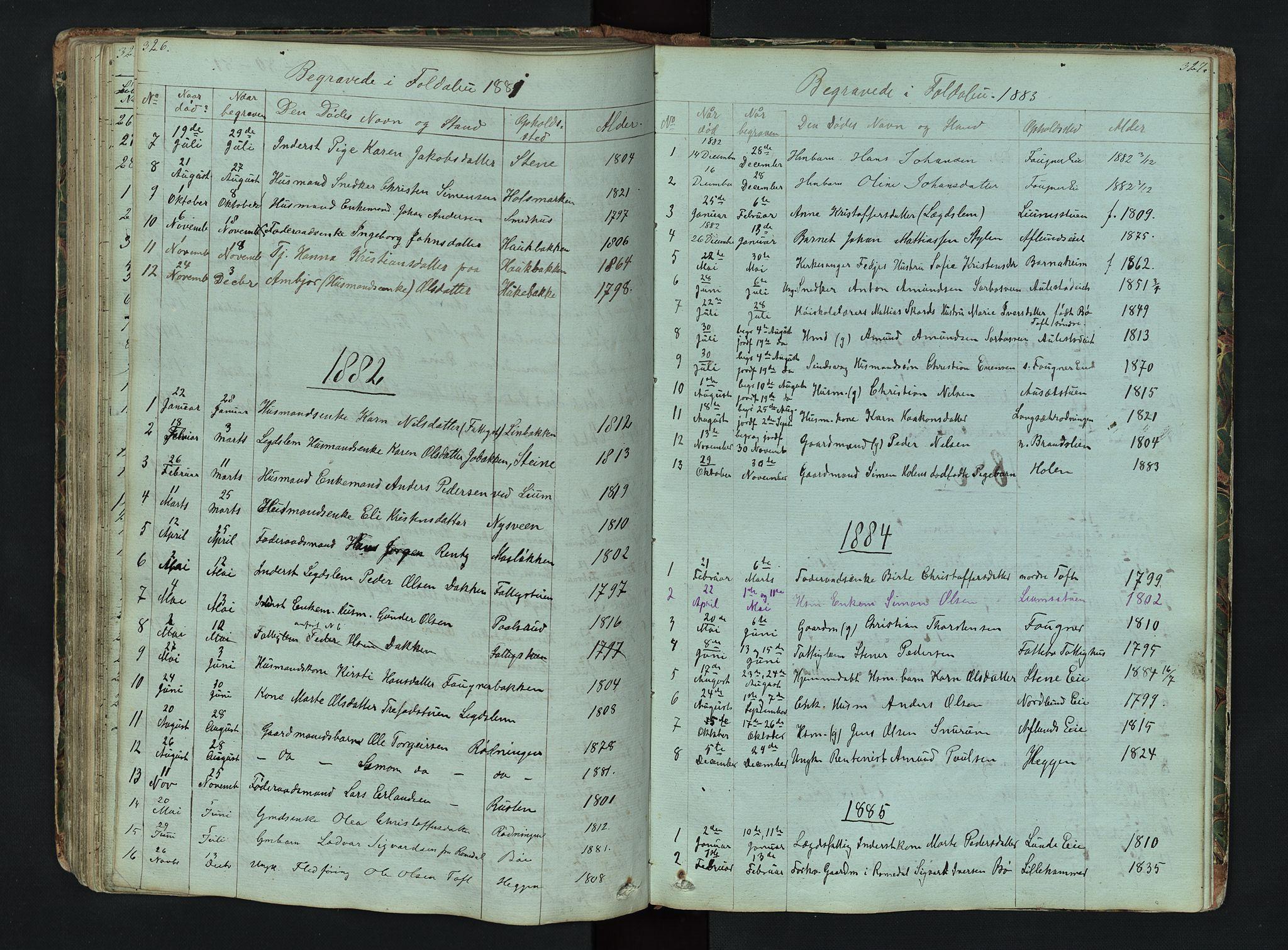 SAH, Gausdal prestekontor, Klokkerbok nr. 6, 1846-1893, s. 326-327