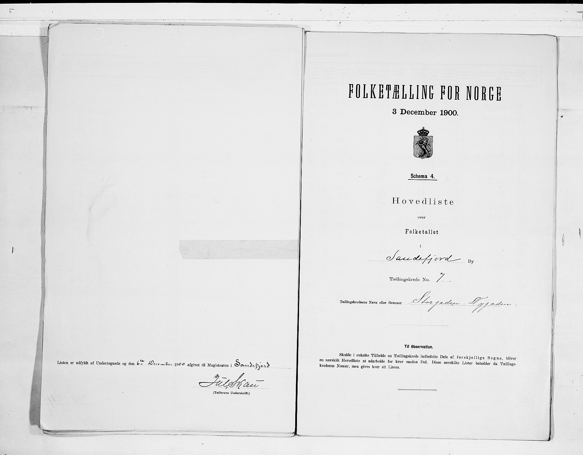 RA, Folketelling 1900 for 0706 Sandefjord kjøpstad, 1900, s. 16
