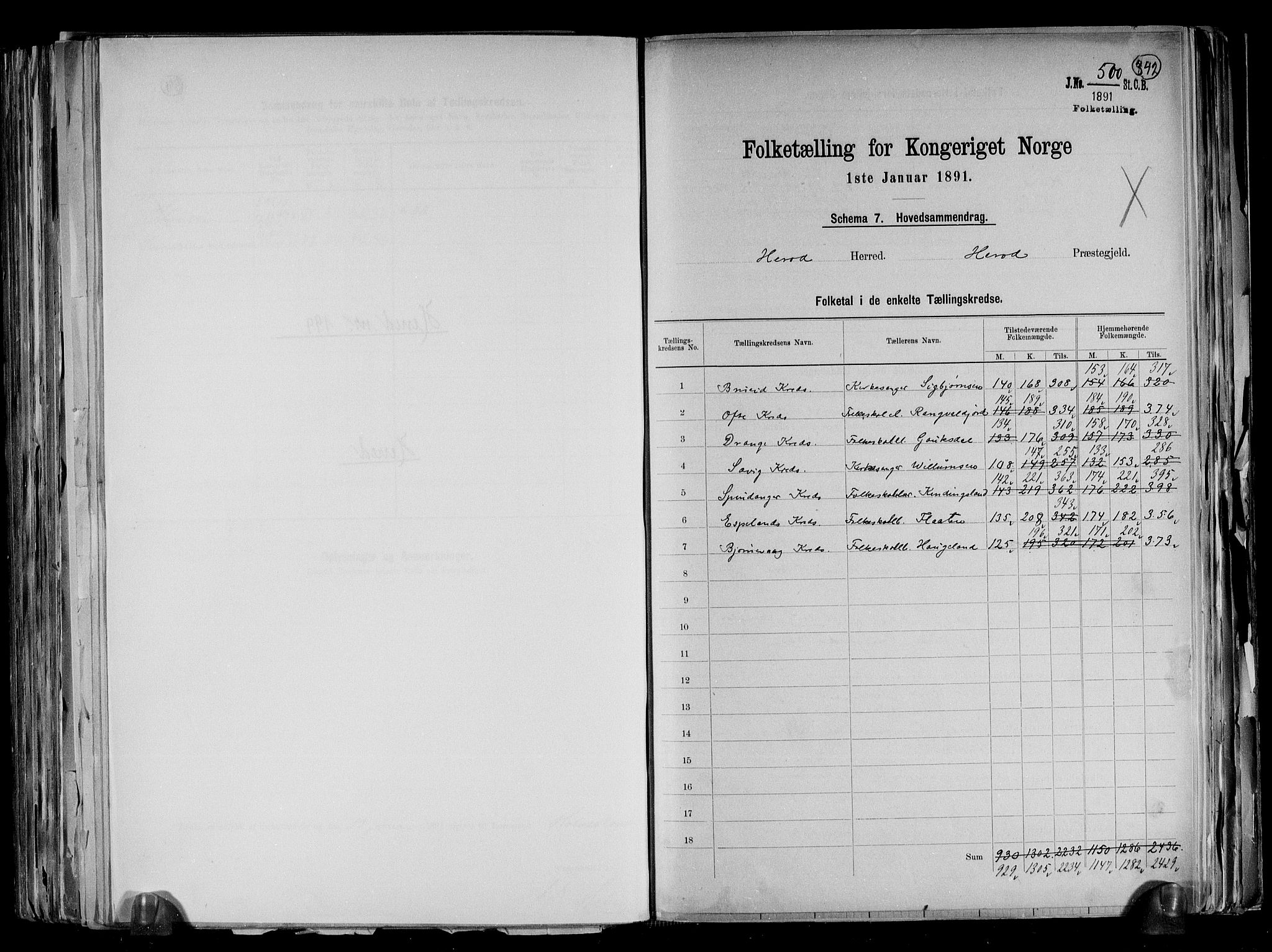 RA, Folketelling 1891 for 1039 Herad herred, 1891, s. 2