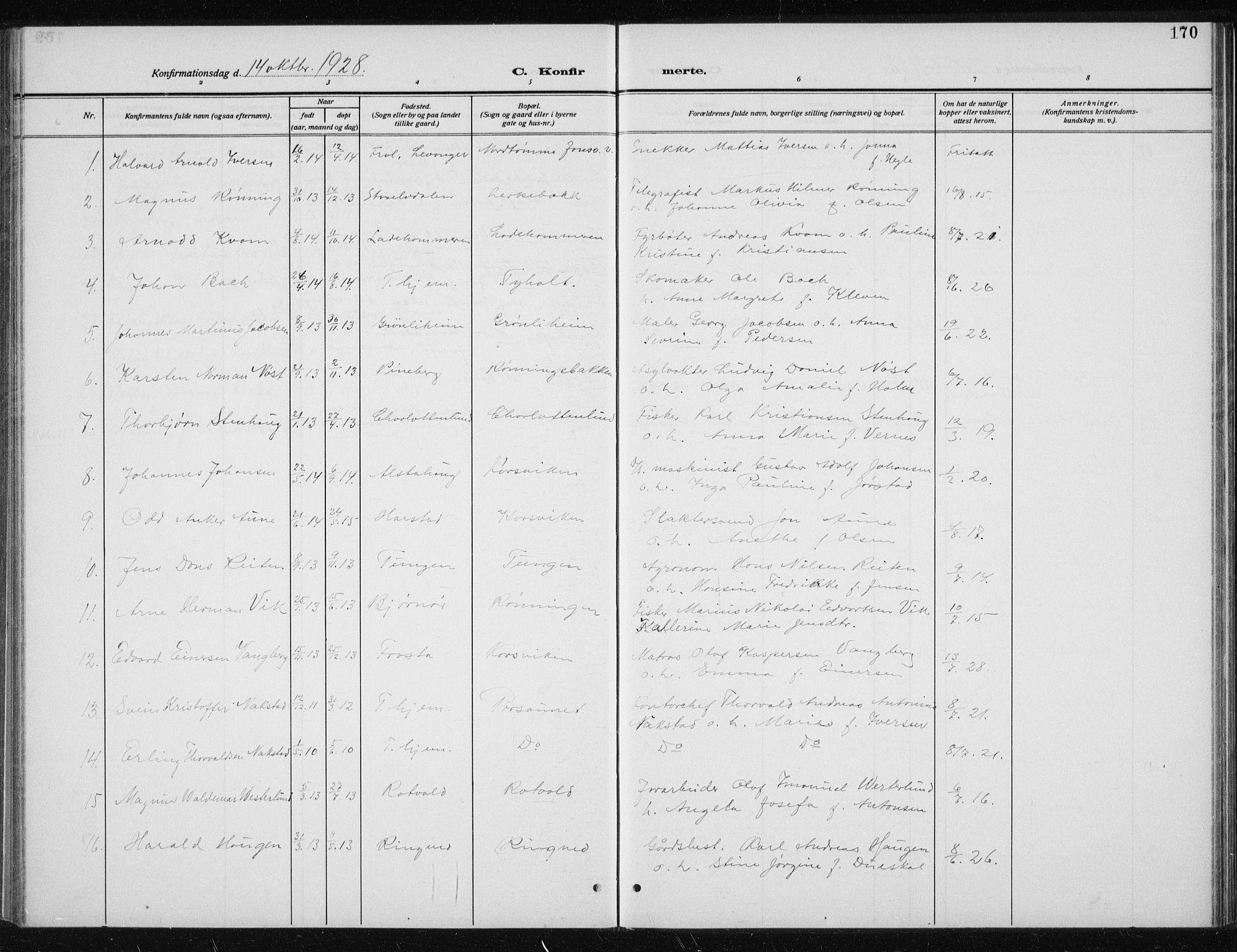 SAT, Ministerialprotokoller, klokkerbøker og fødselsregistre - Sør-Trøndelag, 606/L0314: Klokkerbok nr. 606C10, 1911-1937, s. 170
