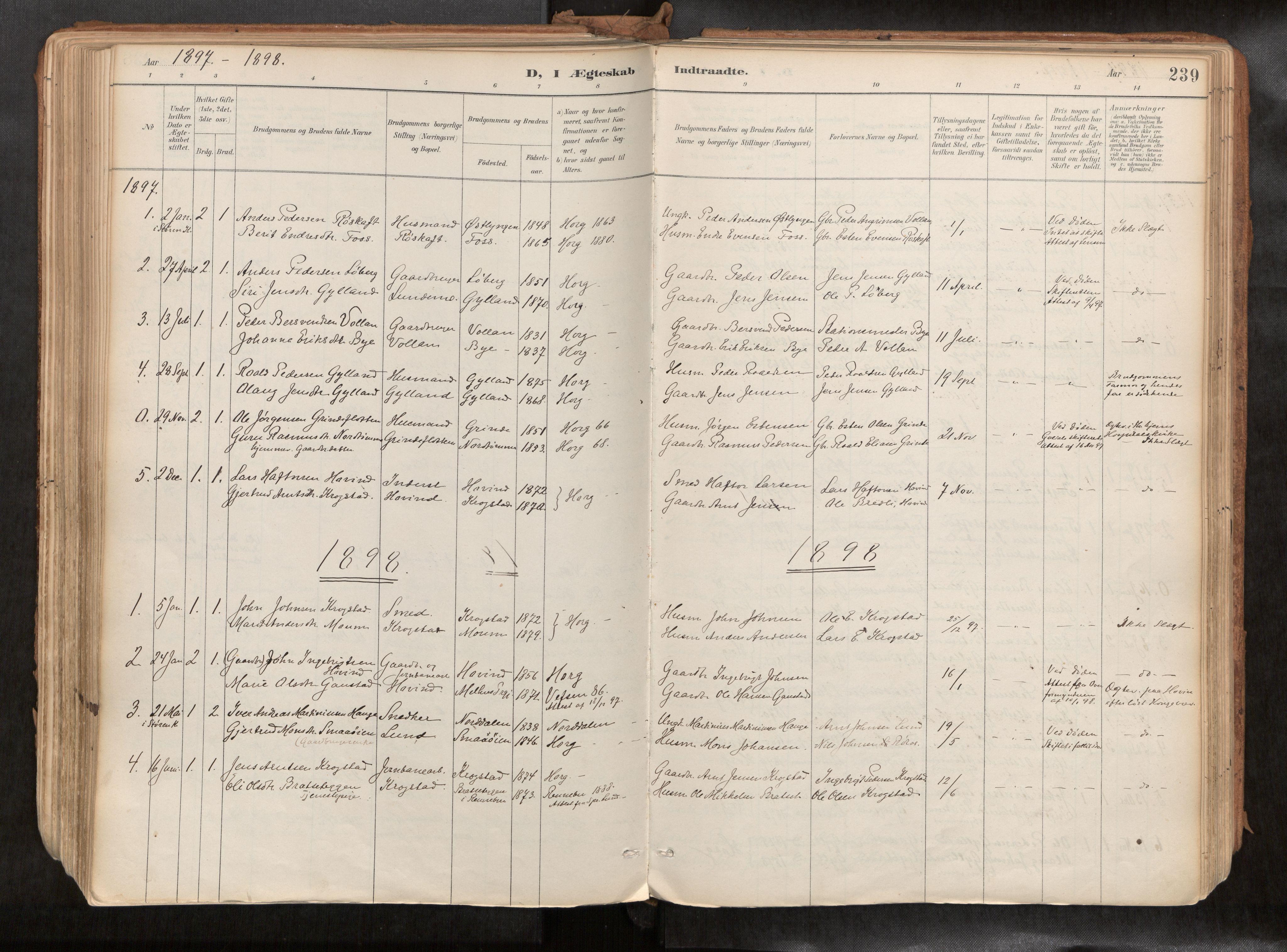 SAT, Ministerialprotokoller, klokkerbøker og fødselsregistre - Sør-Trøndelag, 692/L1105b: Ministerialbok nr. 692A06, 1891-1934, s. 239