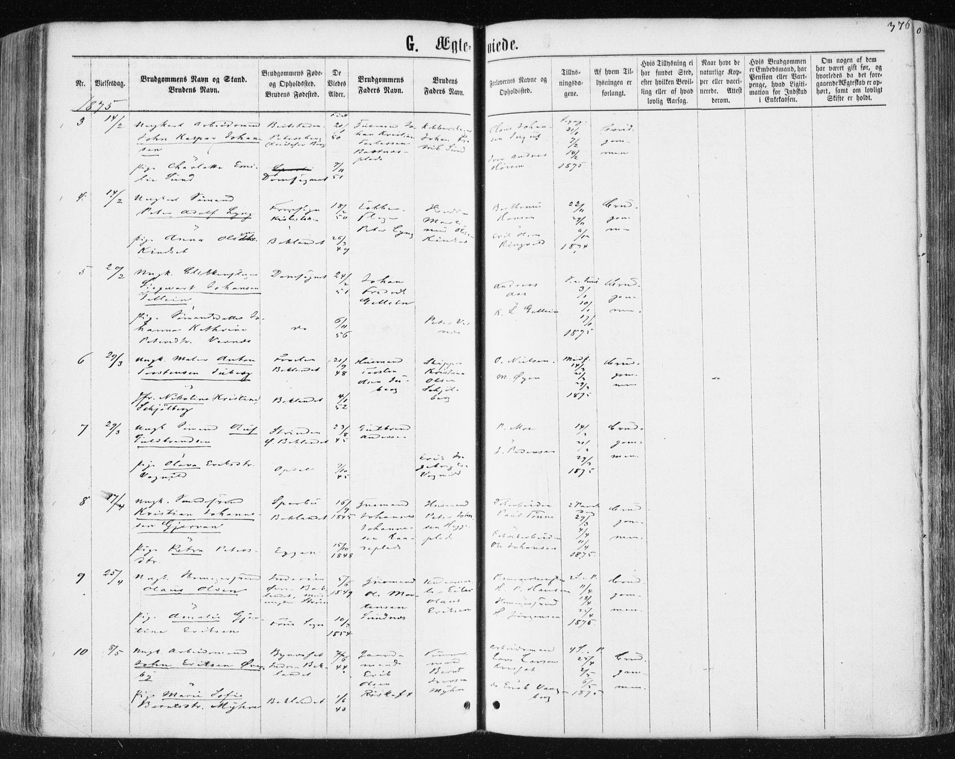 SAT, Ministerialprotokoller, klokkerbøker og fødselsregistre - Sør-Trøndelag, 604/L0186: Ministerialbok nr. 604A07, 1866-1877, s. 376