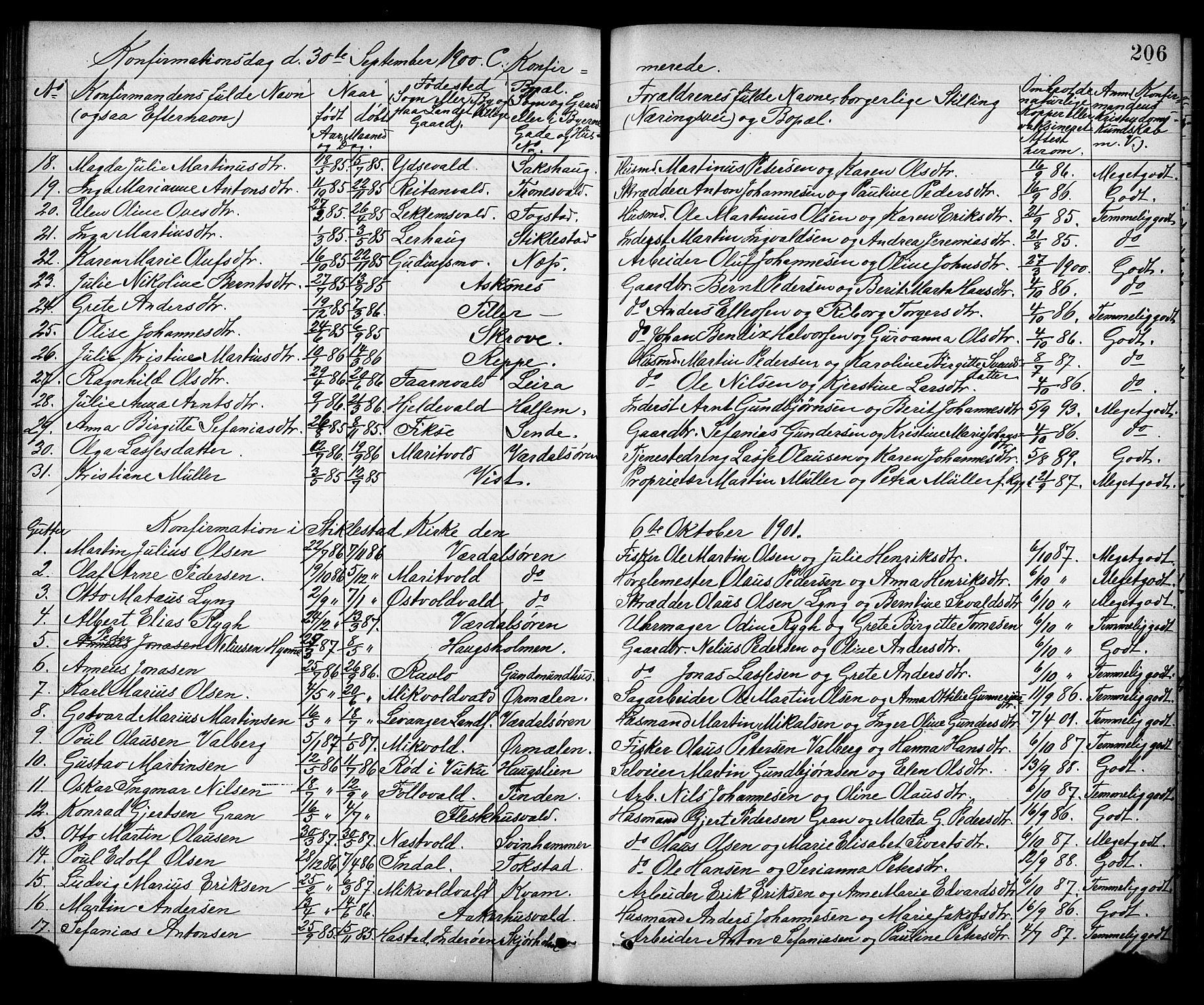 SAT, Ministerialprotokoller, klokkerbøker og fødselsregistre - Nord-Trøndelag, 723/L0257: Klokkerbok nr. 723C05, 1890-1907, s. 206