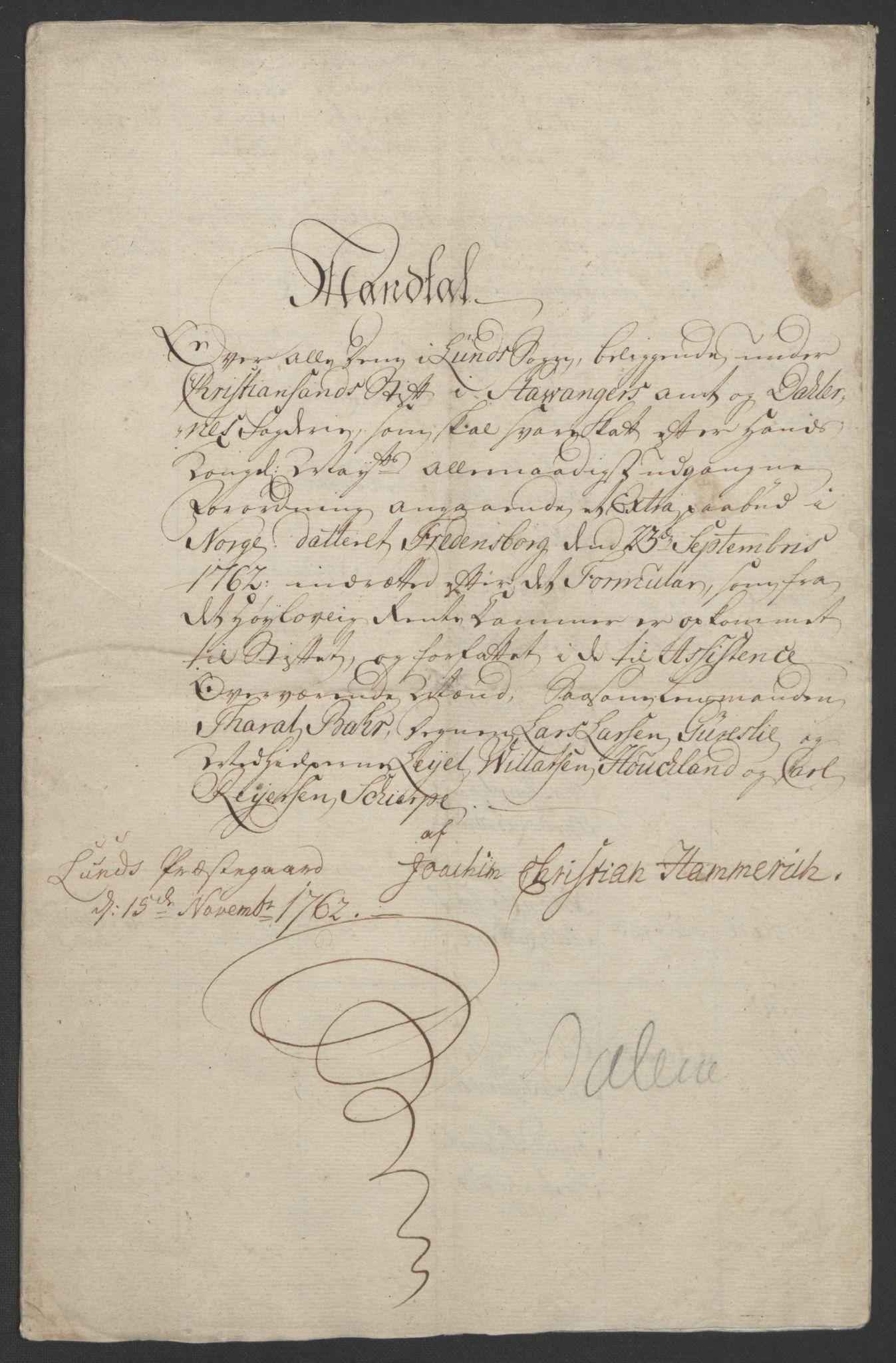 RA, Rentekammeret inntil 1814, Realistisk ordnet avdeling, Ol/L0015: [Gg 10]: Ekstraskatten, 23.09.1762. Stavanger by, Jæren og Dalane, Bergen, 1762-1764, s. 170