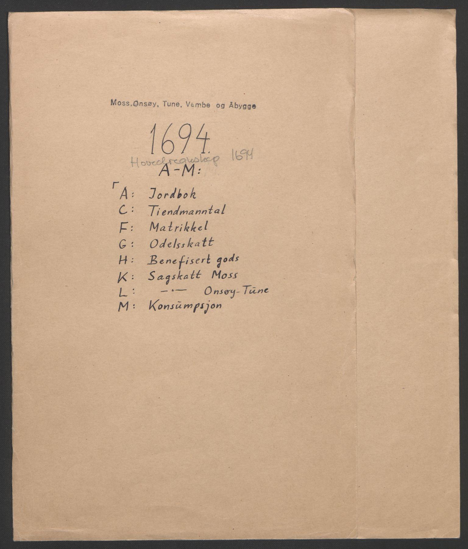 RA, Rentekammeret inntil 1814, Reviderte regnskaper, Fogderegnskap, R03/L0121: Fogderegnskap Onsøy, Tune, Veme og Åbygge fogderi, 1694, s. 2