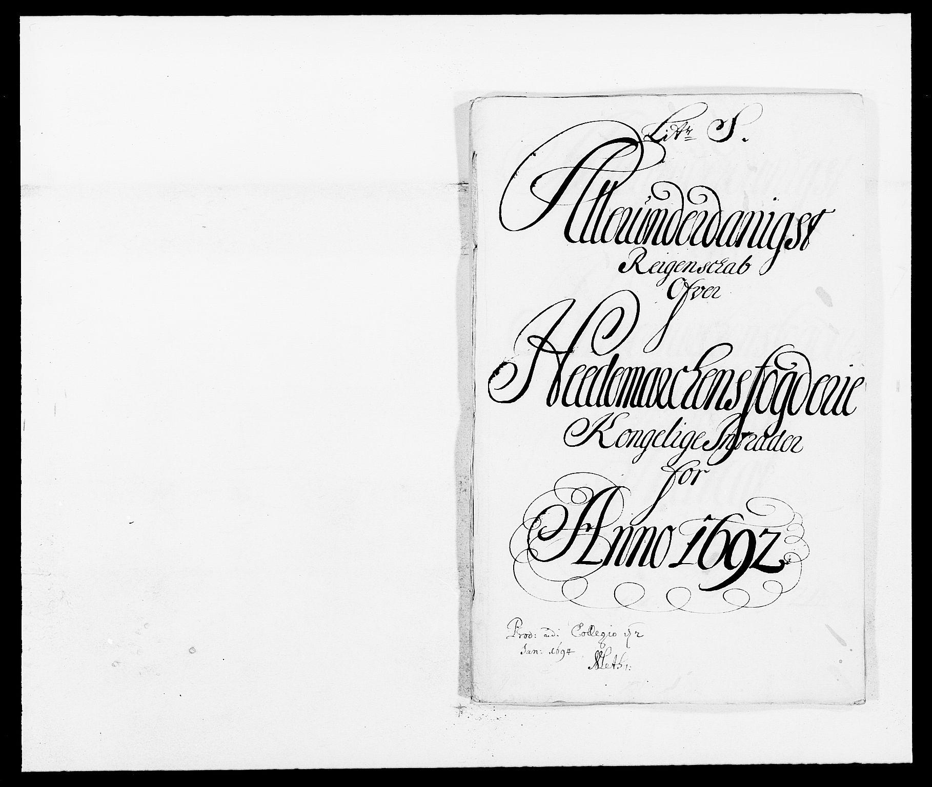 RA, Rentekammeret inntil 1814, Reviderte regnskaper, Fogderegnskap, R16/L1031: Fogderegnskap Hedmark, 1689-1692, s. 1