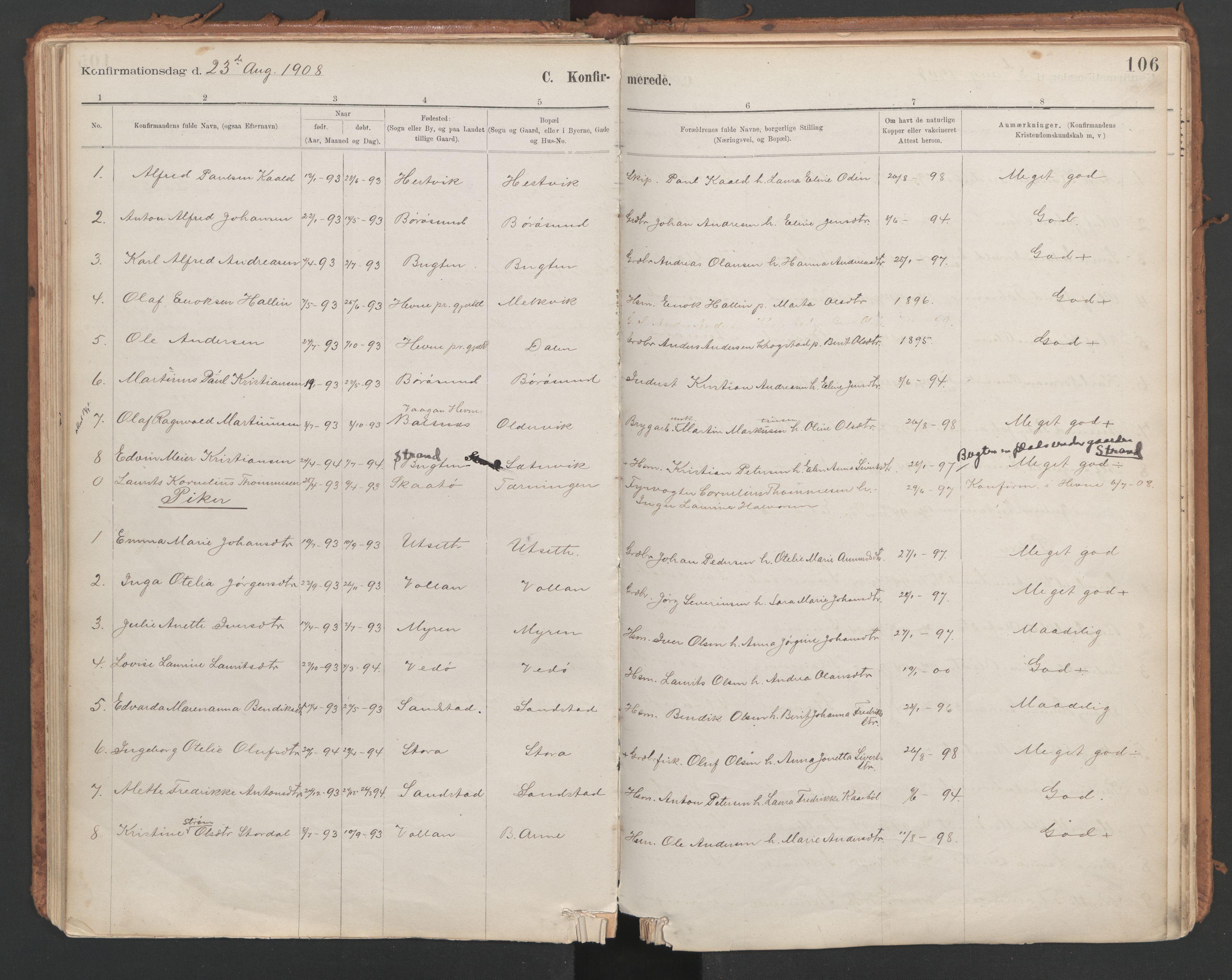 SAT, Ministerialprotokoller, klokkerbøker og fødselsregistre - Sør-Trøndelag, 639/L0572: Ministerialbok nr. 639A01, 1890-1920, s. 106