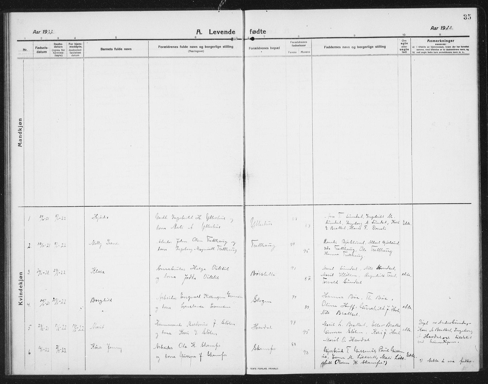 SAT, Ministerialprotokoller, klokkerbøker og fødselsregistre - Sør-Trøndelag, 675/L0888: Klokkerbok nr. 675C01, 1913-1935, s. 35