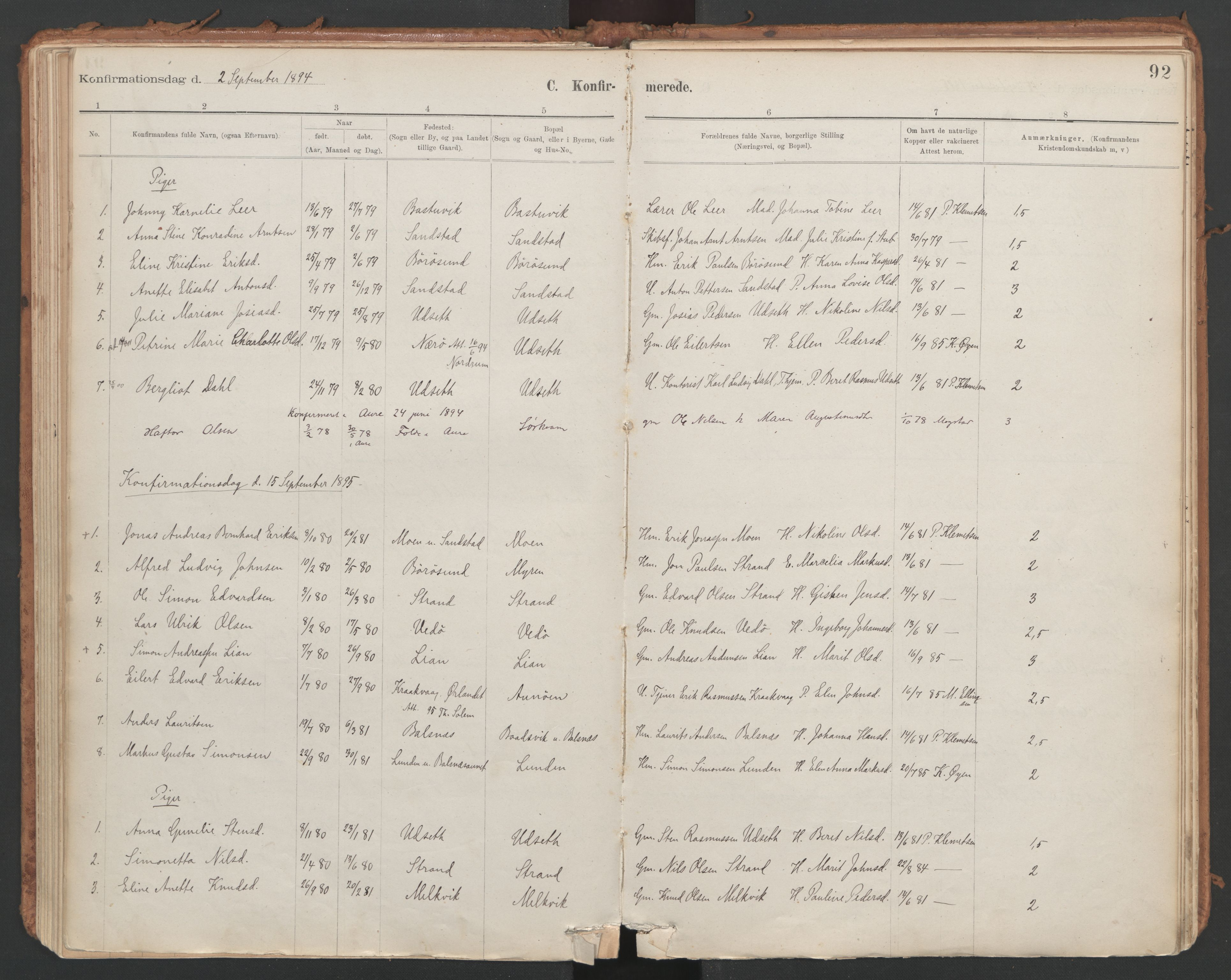 SAT, Ministerialprotokoller, klokkerbøker og fødselsregistre - Sør-Trøndelag, 639/L0572: Ministerialbok nr. 639A01, 1890-1920, s. 92
