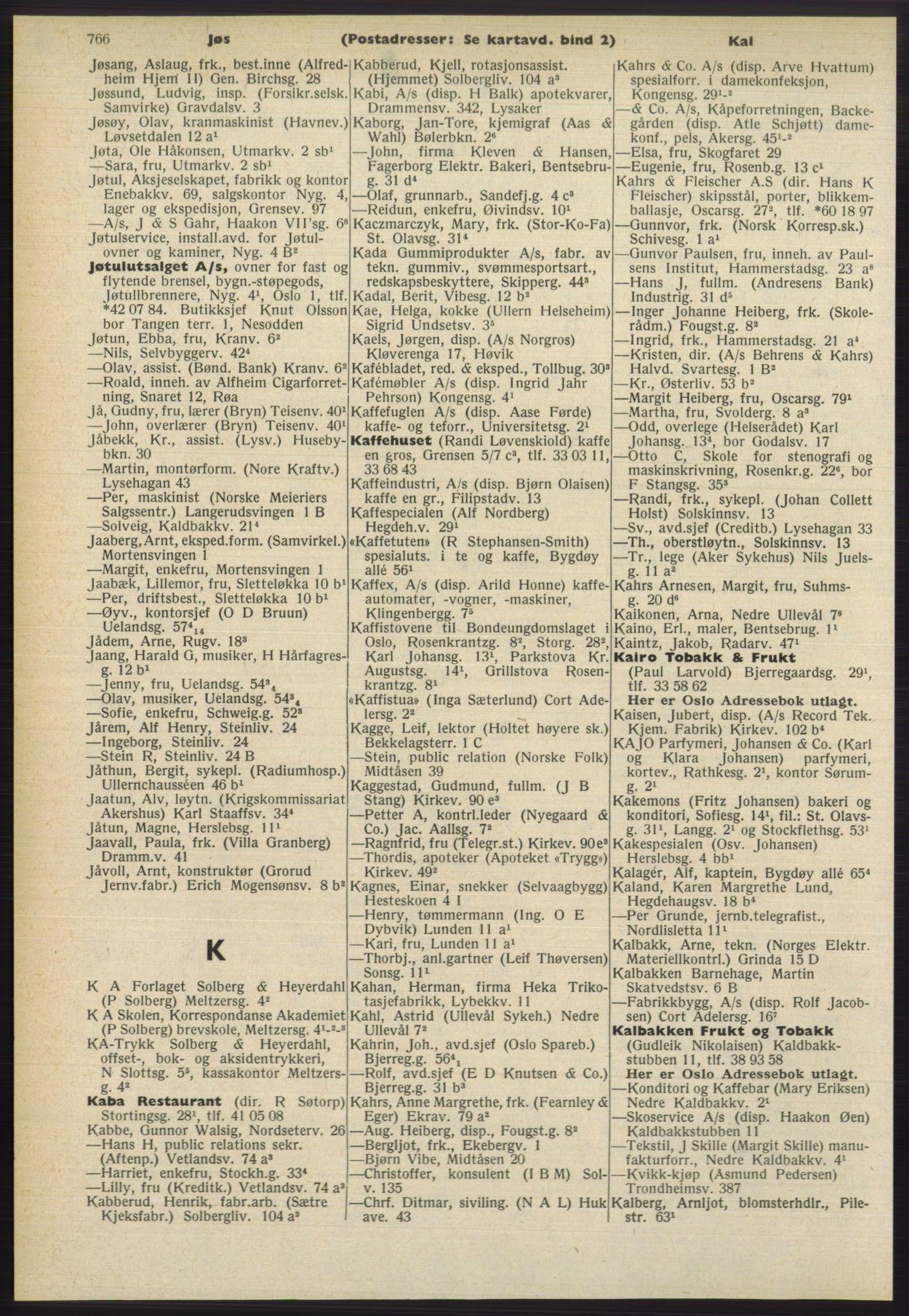 RA, Oslo adressebok (publikasjon)*, 1965-1966, s. 766