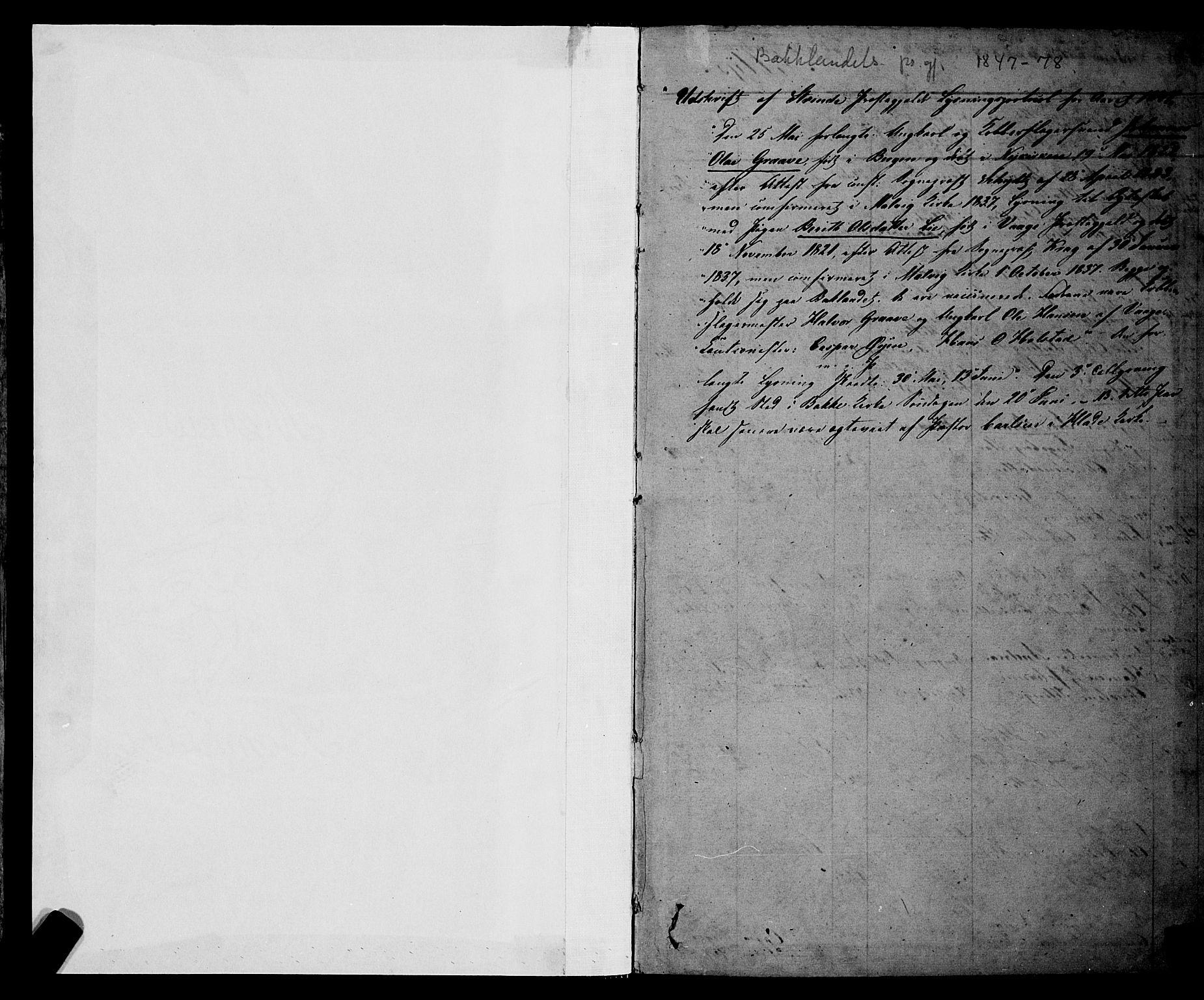 SAT, Ministerialprotokoller, klokkerbøker og fødselsregistre - Sør-Trøndelag, 604/L0187: Ministerialbok nr. 604A08, 1847-1878, s. 1