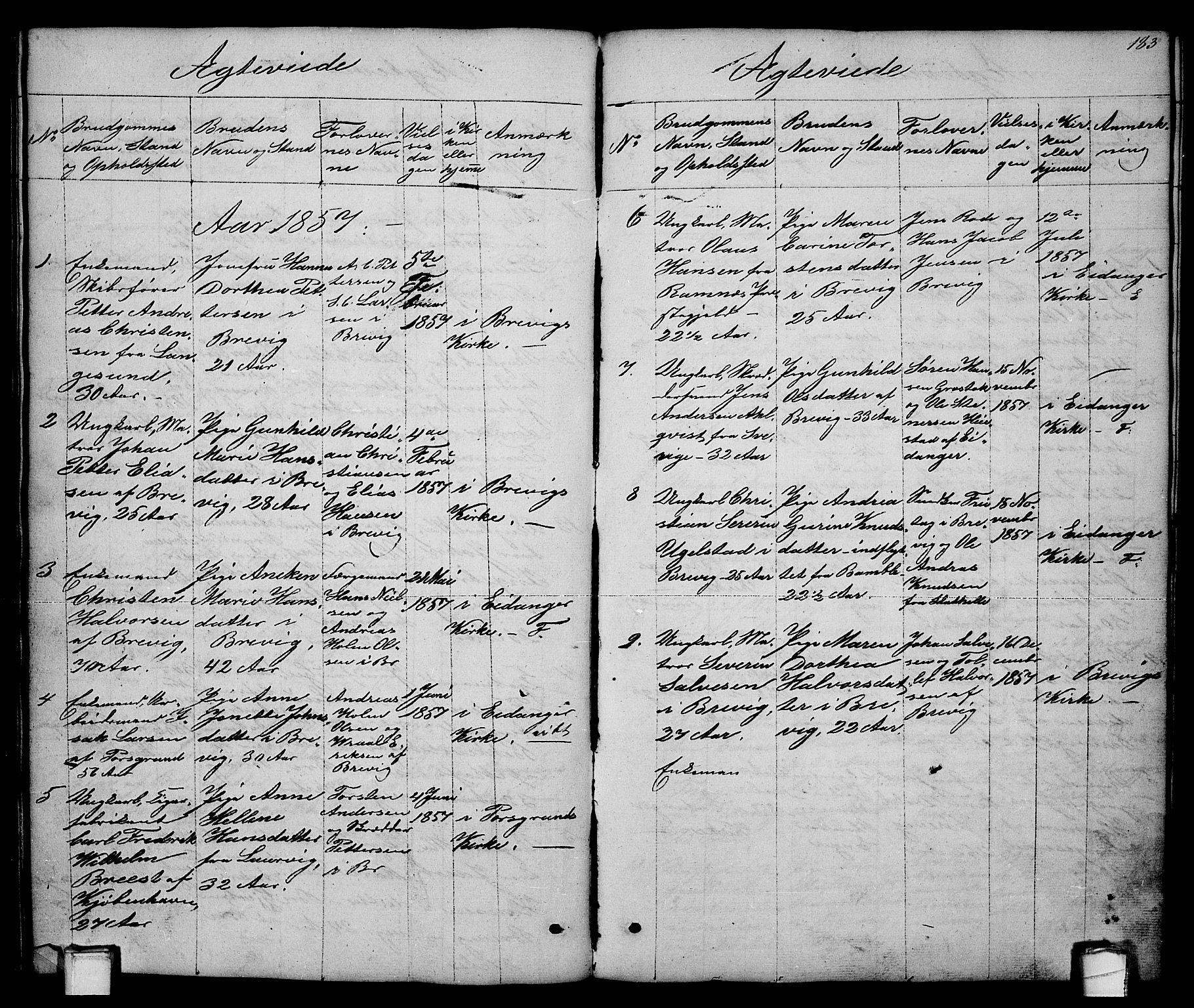 SAKO, Brevik kirkebøker, G/Ga/L0002: Klokkerbok nr. 2, 1846-1865, s. 183