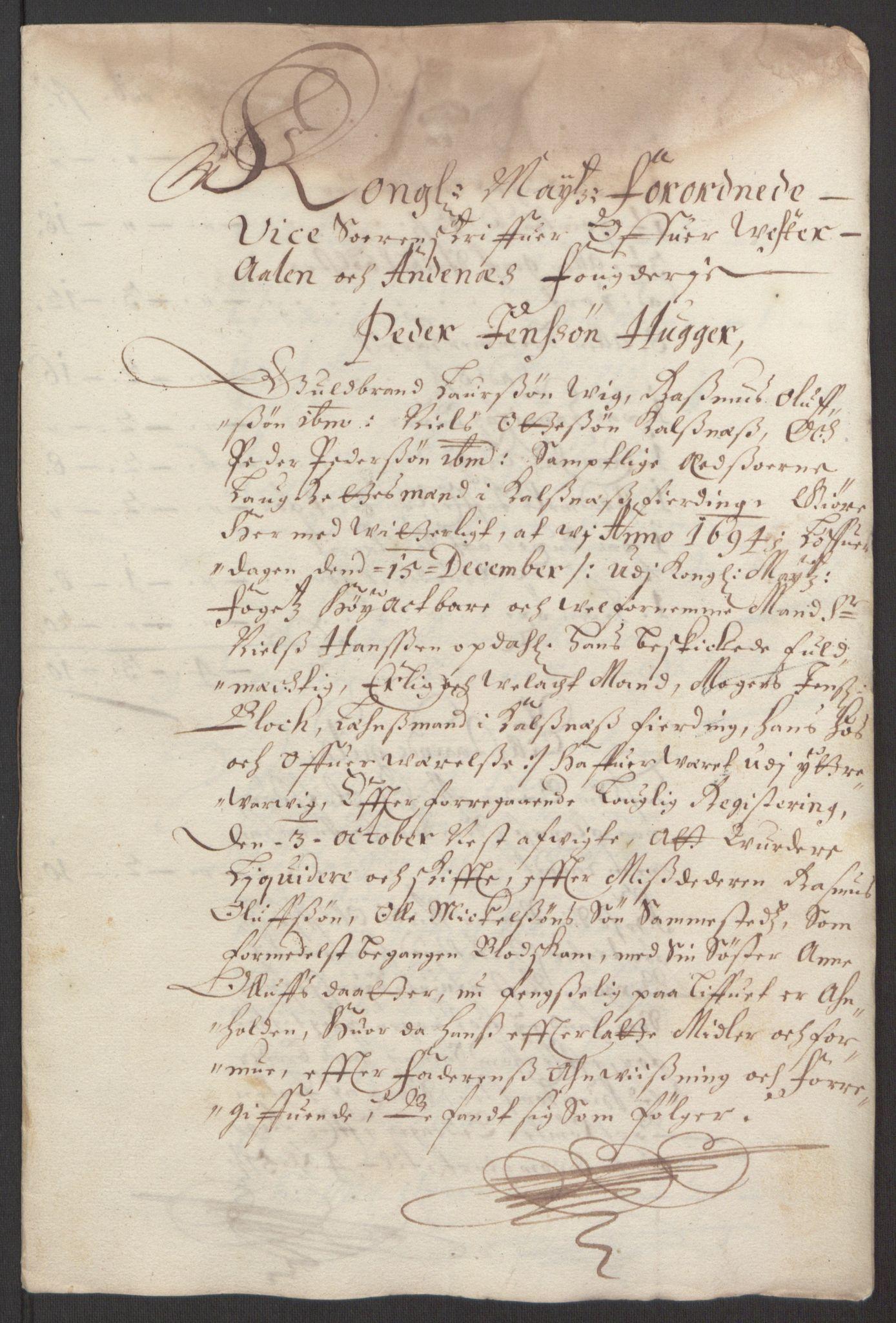 RA, Rentekammeret inntil 1814, Reviderte regnskaper, Fogderegnskap, R67/L4677: Fogderegnskap Vesterålen, Andenes og Lofoten, 1694-1695, s. 314