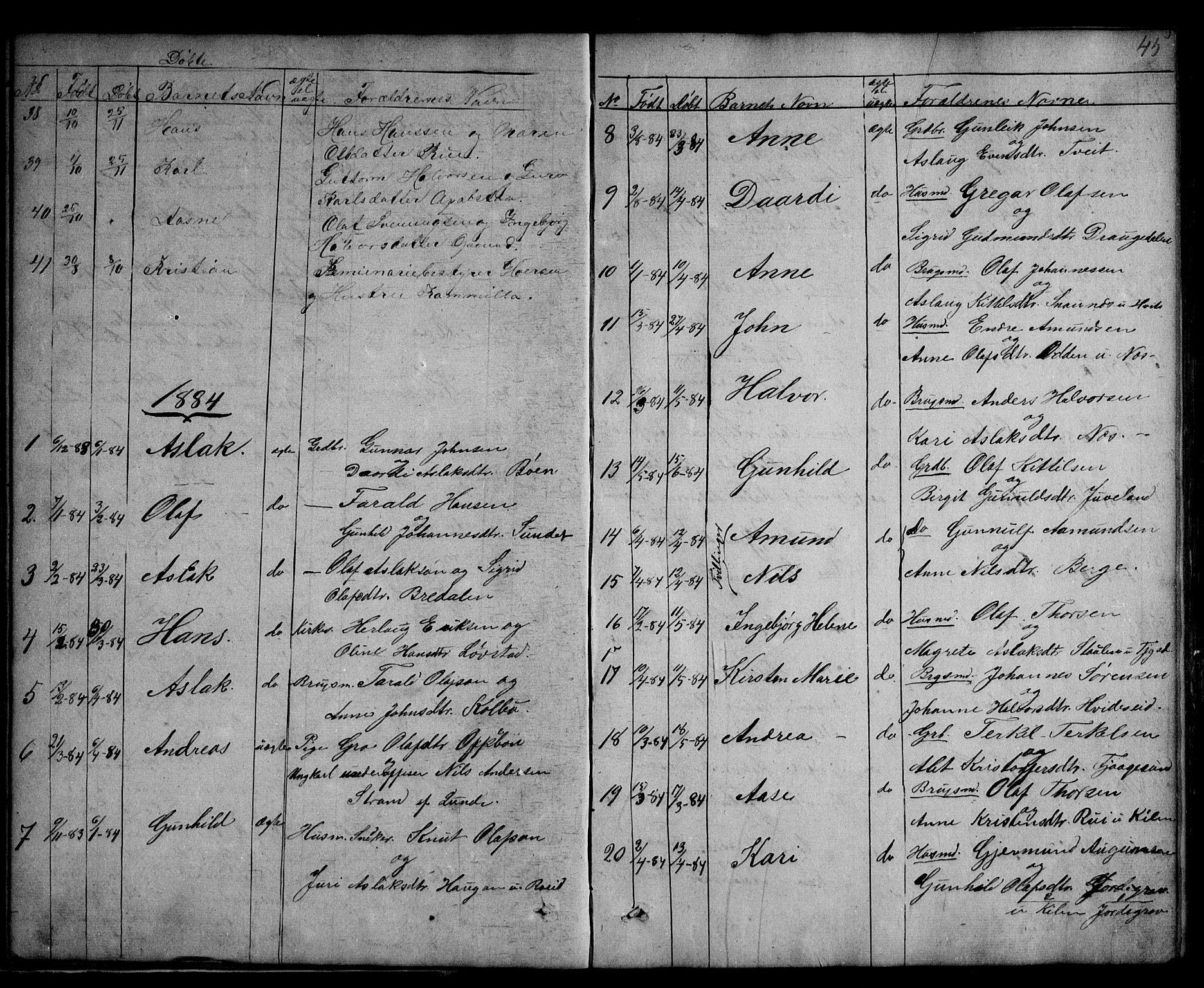 SAKO, Kviteseid kirkebøker, G/Ga/L0001: Klokkerbok nr. I 1, 1850-1893, s. 45