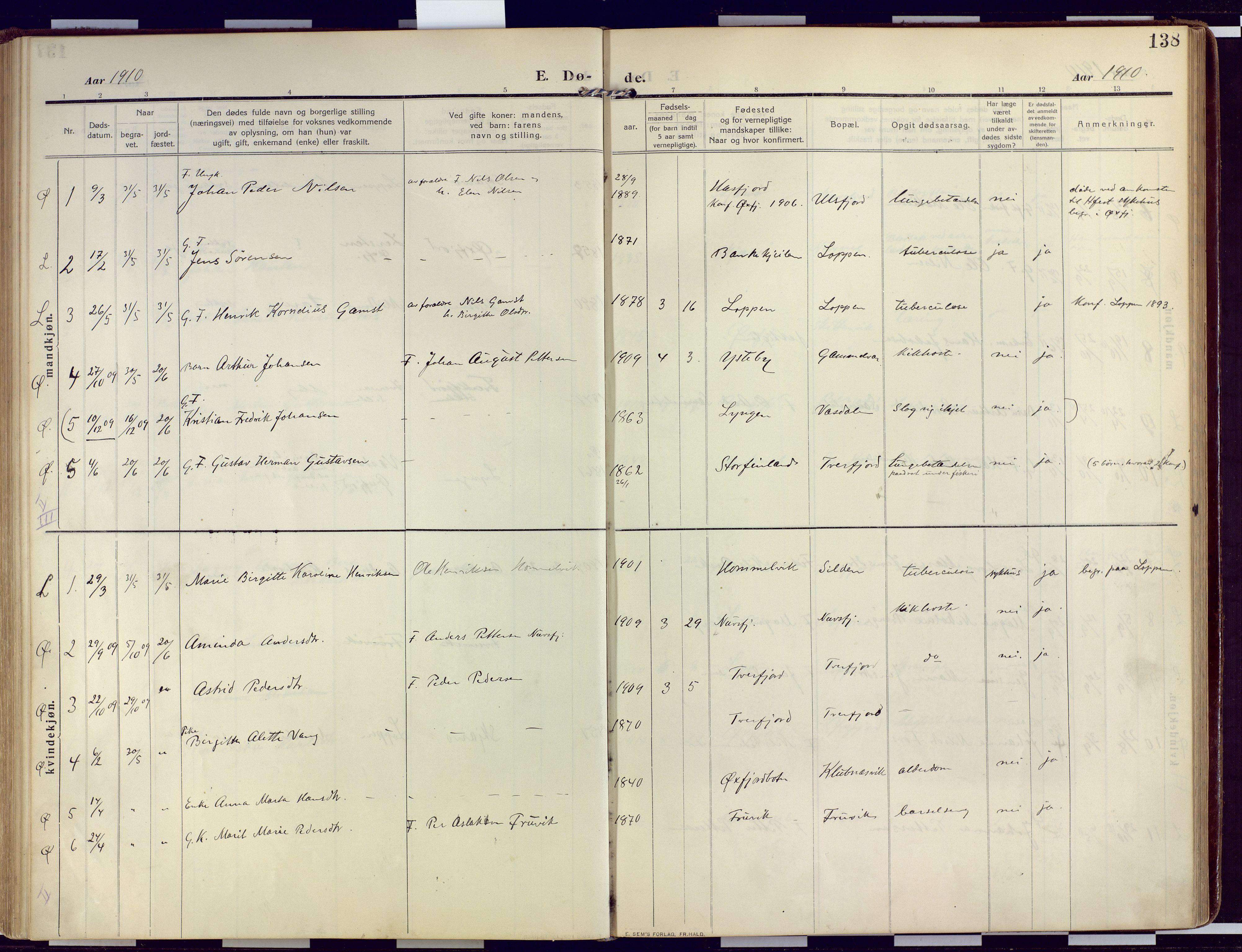 SATØ, Loppa sokneprestkontor, H/Ha/L0011kirke: Ministerialbok nr. 11, 1909-1919, s. 138
