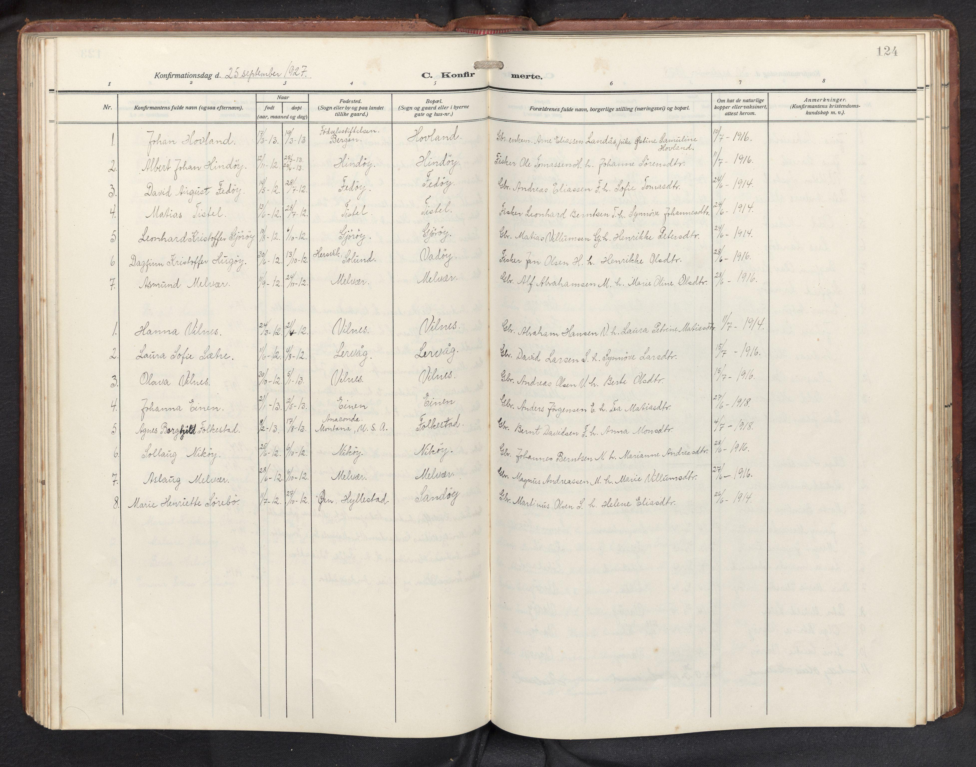 SAB, Askvoll sokneprestembete, H/Hab/Habb/L0002: Klokkerbok nr. B 2, 1910-1947, s. 123b-124a