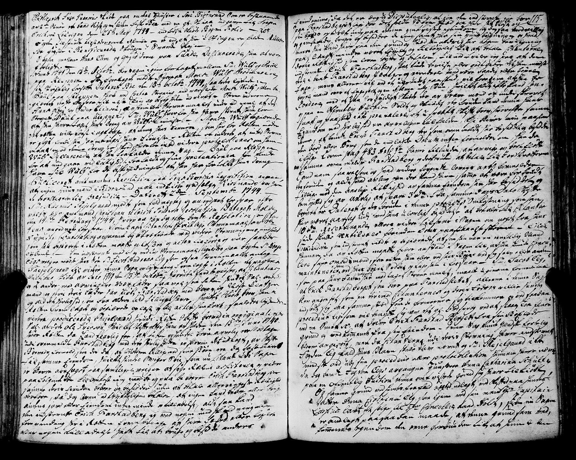 SAT, Romsdal sorenskriveri, 1/1A/L0012: Tingbok, 1740-1749, s. 114b-115a