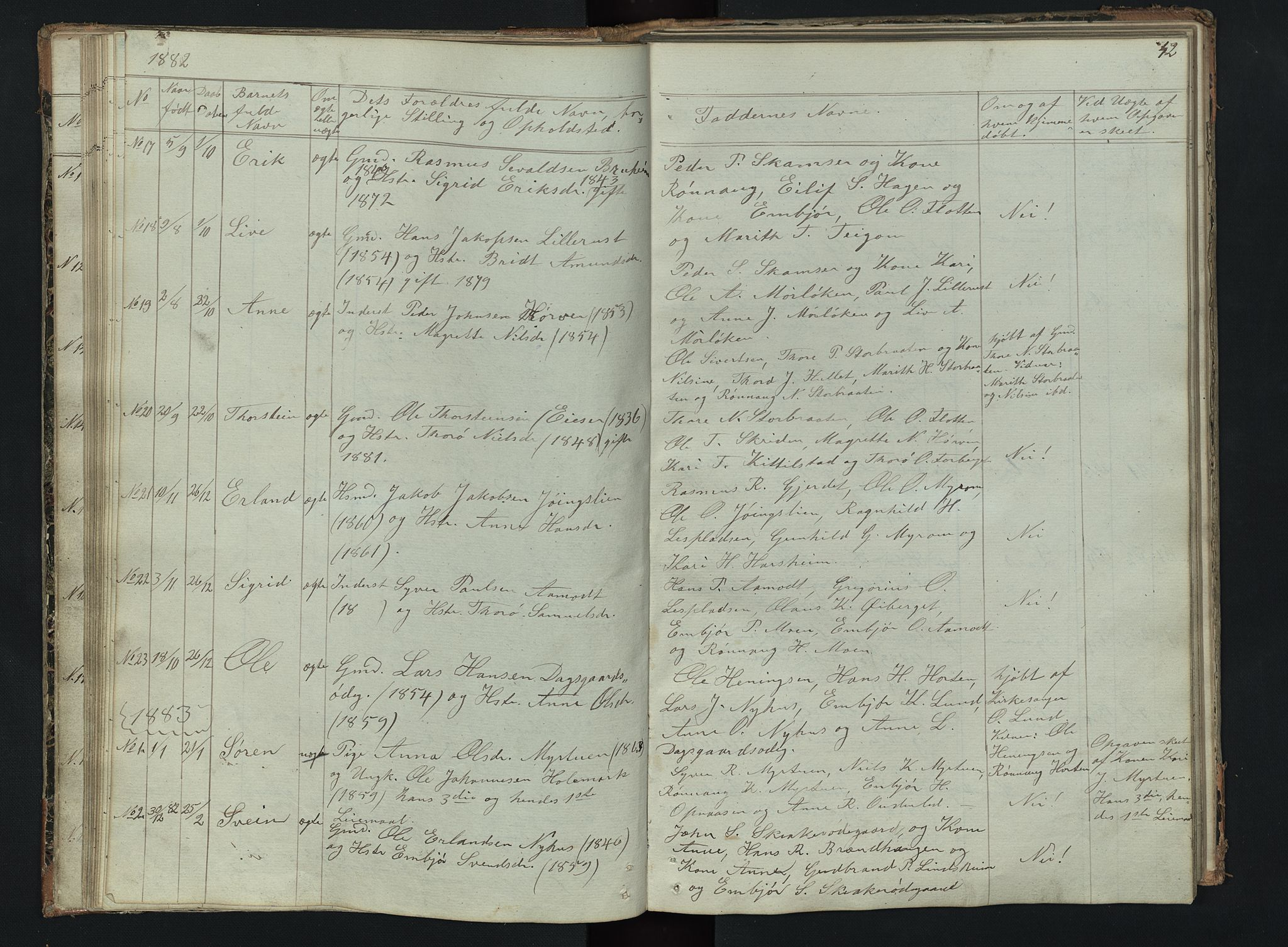 SAH, Skjåk prestekontor, Klokkerbok nr. 2, 1867-1894, s. 42