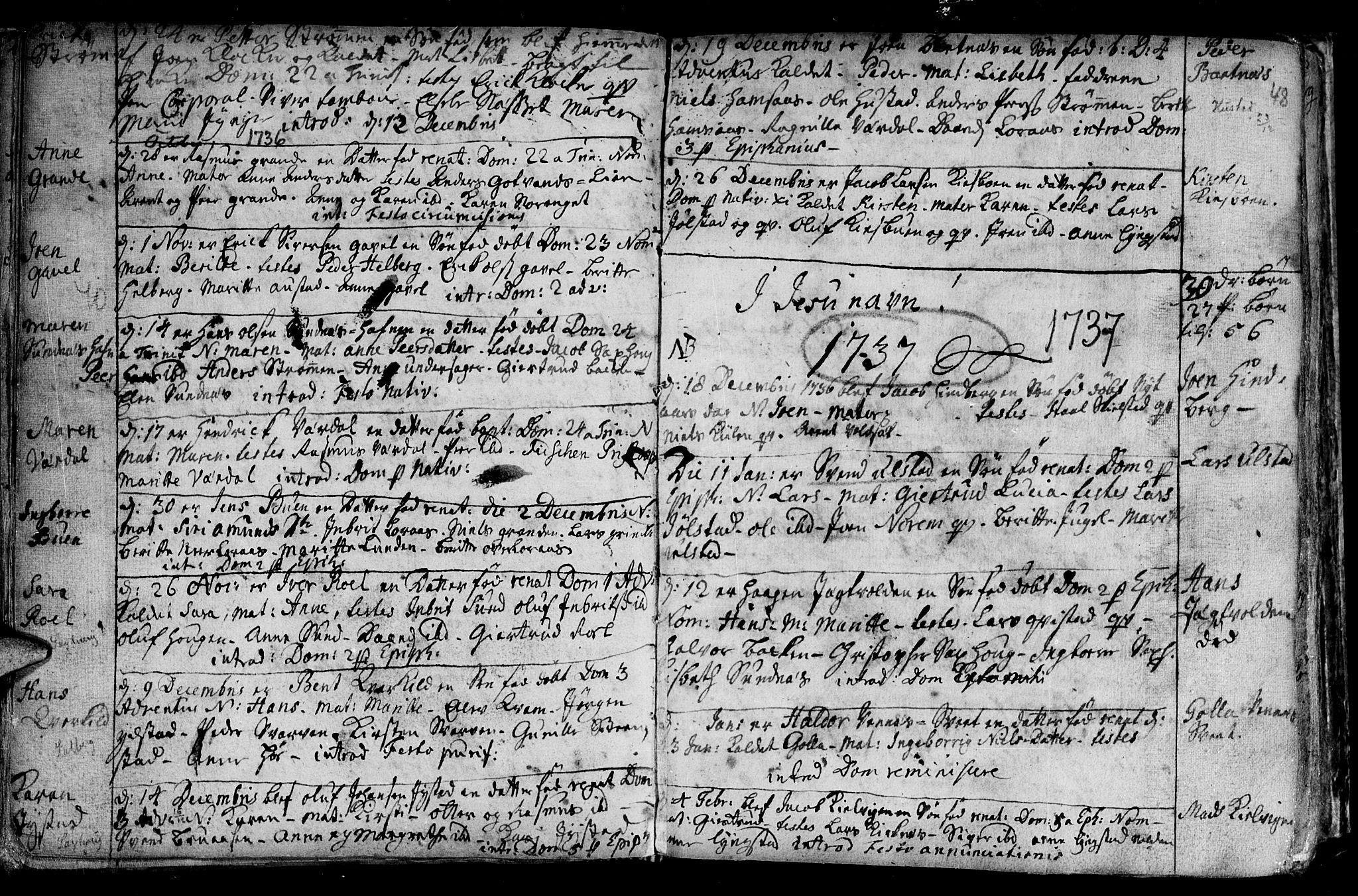SAT, Ministerialprotokoller, klokkerbøker og fødselsregistre - Nord-Trøndelag, 730/L0272: Ministerialbok nr. 730A01, 1733-1764, s. 48