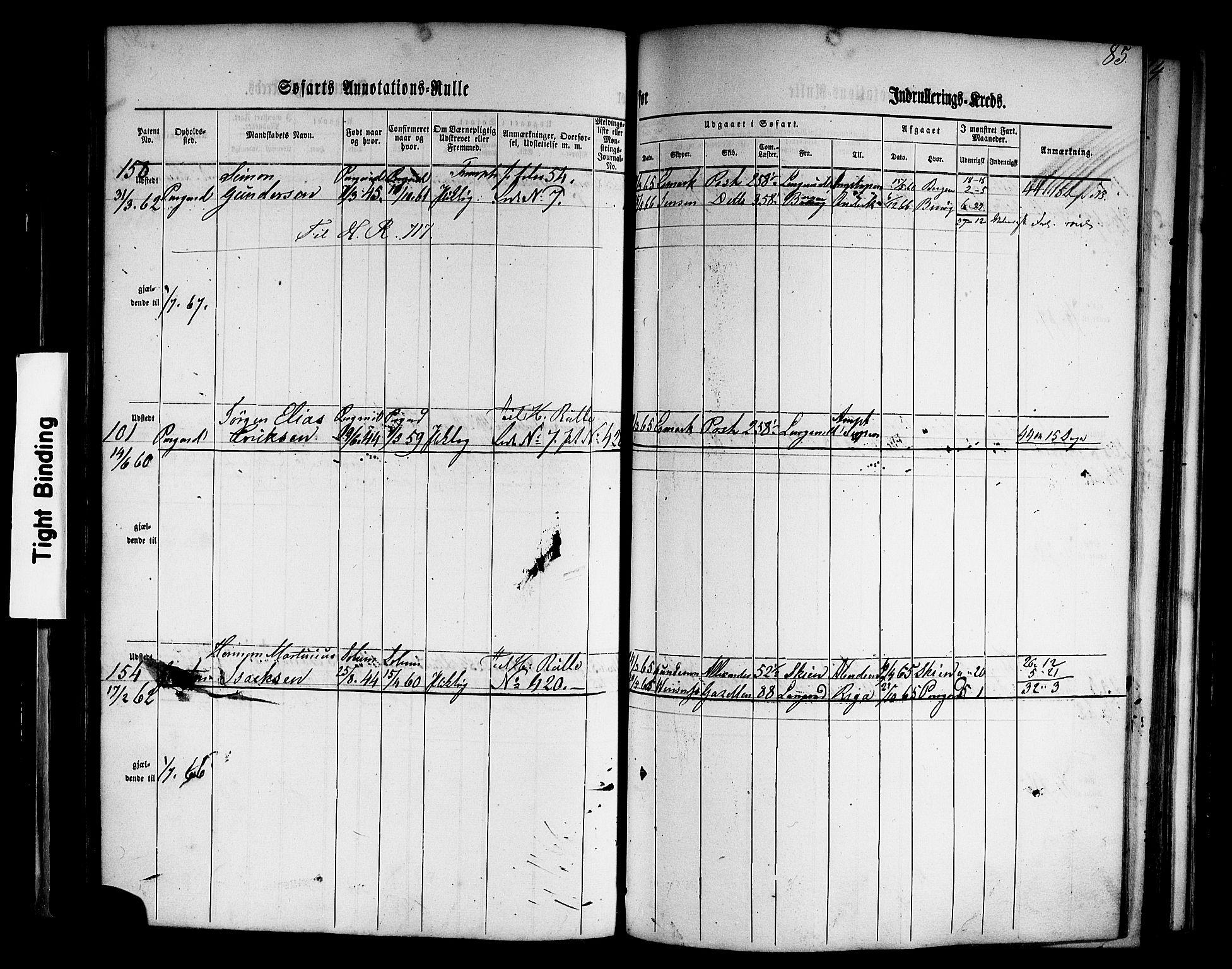 SAKO, Porsgrunn innrulleringskontor, F/Fb/L0001: Annotasjonsrulle, 1860-1868, s. 114