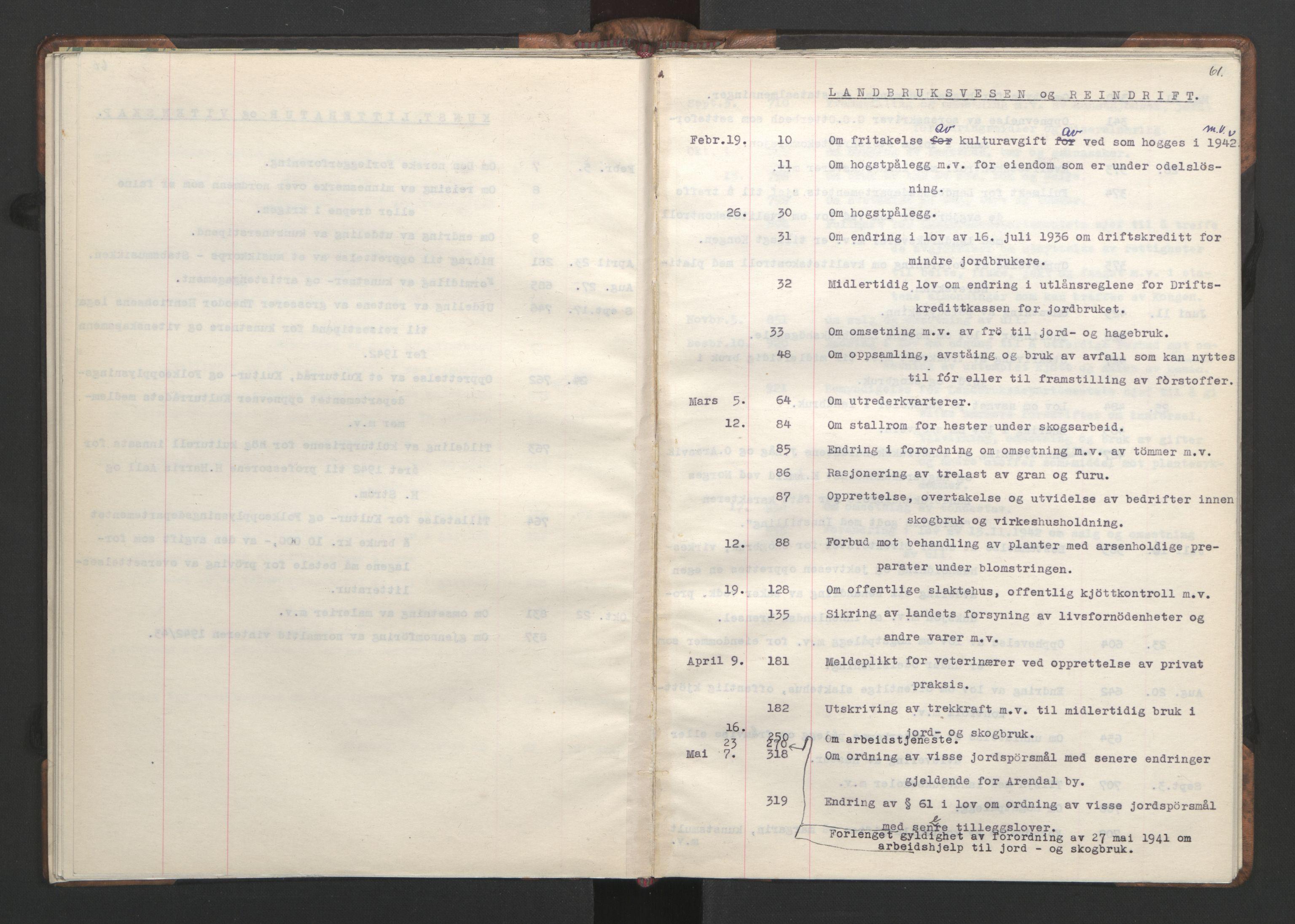 RA, NS-administrasjonen 1940-1945 (Statsrådsekretariatet, de kommisariske statsråder mm), D/Da/L0002: Register (RA j.nr. 985/1943, tilgangsnr. 17/1943), 1942, s. 60b-61a